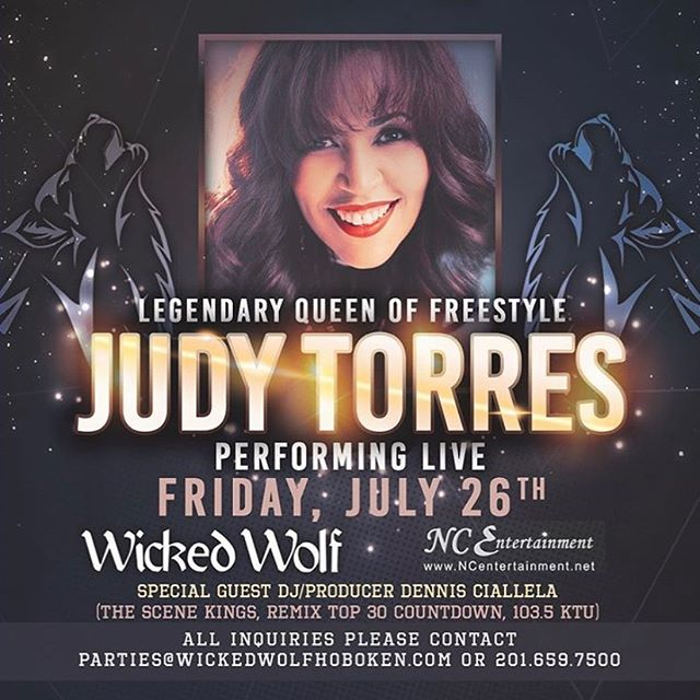 Legendary Queen of Freestyle Judy Torres performance is only days away! Purchase tickets at the link in our bio! Table reservations available by contacting 201-659-7500 or Hollie@wickedwolfhoboken.com  #queenoffreestyle #judytorresmusic #wolfknows #wickedwolf #hobokennightlife #friyay