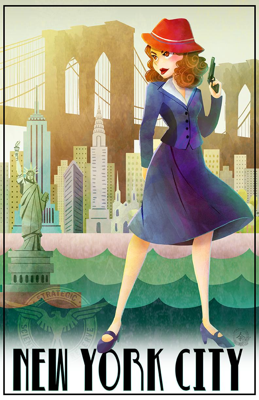 New York Travel Poster feturing Marvel Comic's Agent Carter