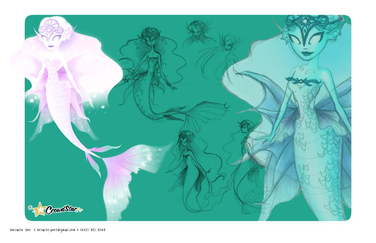 Ethereal ghost-guide mermaid created for Mermaid World for Crowdstar