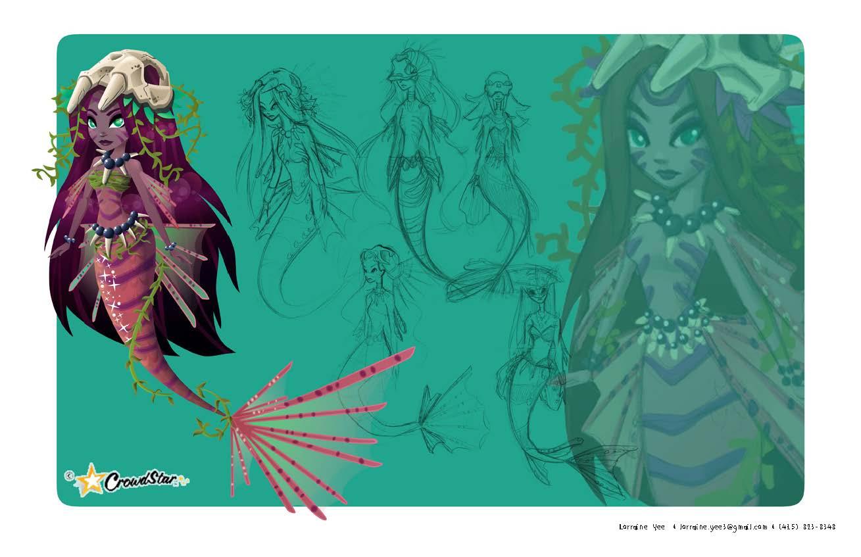 Voodoo-inspired mermaid created for Mermaid World for Crowdstar during Halloween season.