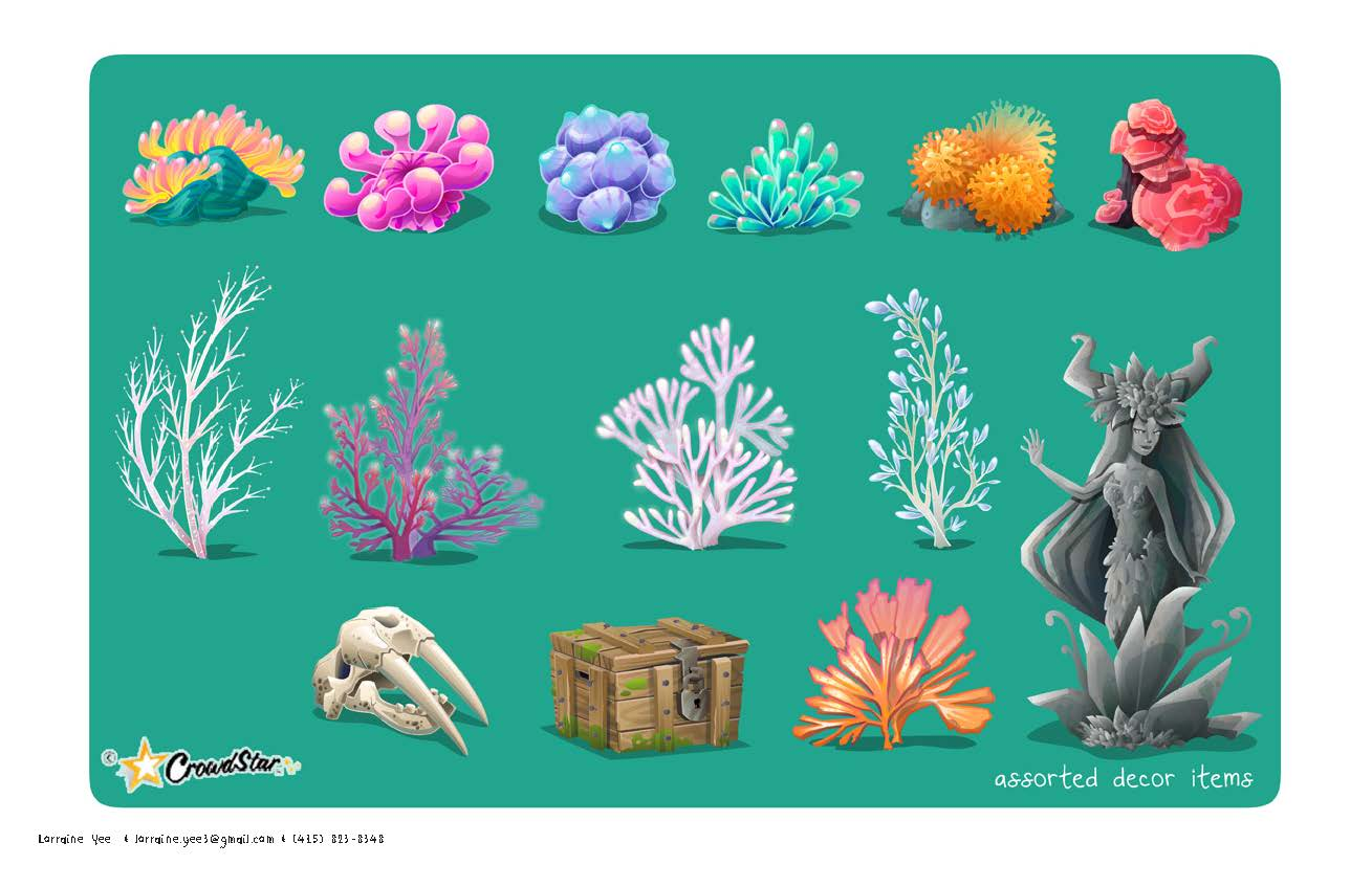icons and decor for Mermaid World for Crowdstar