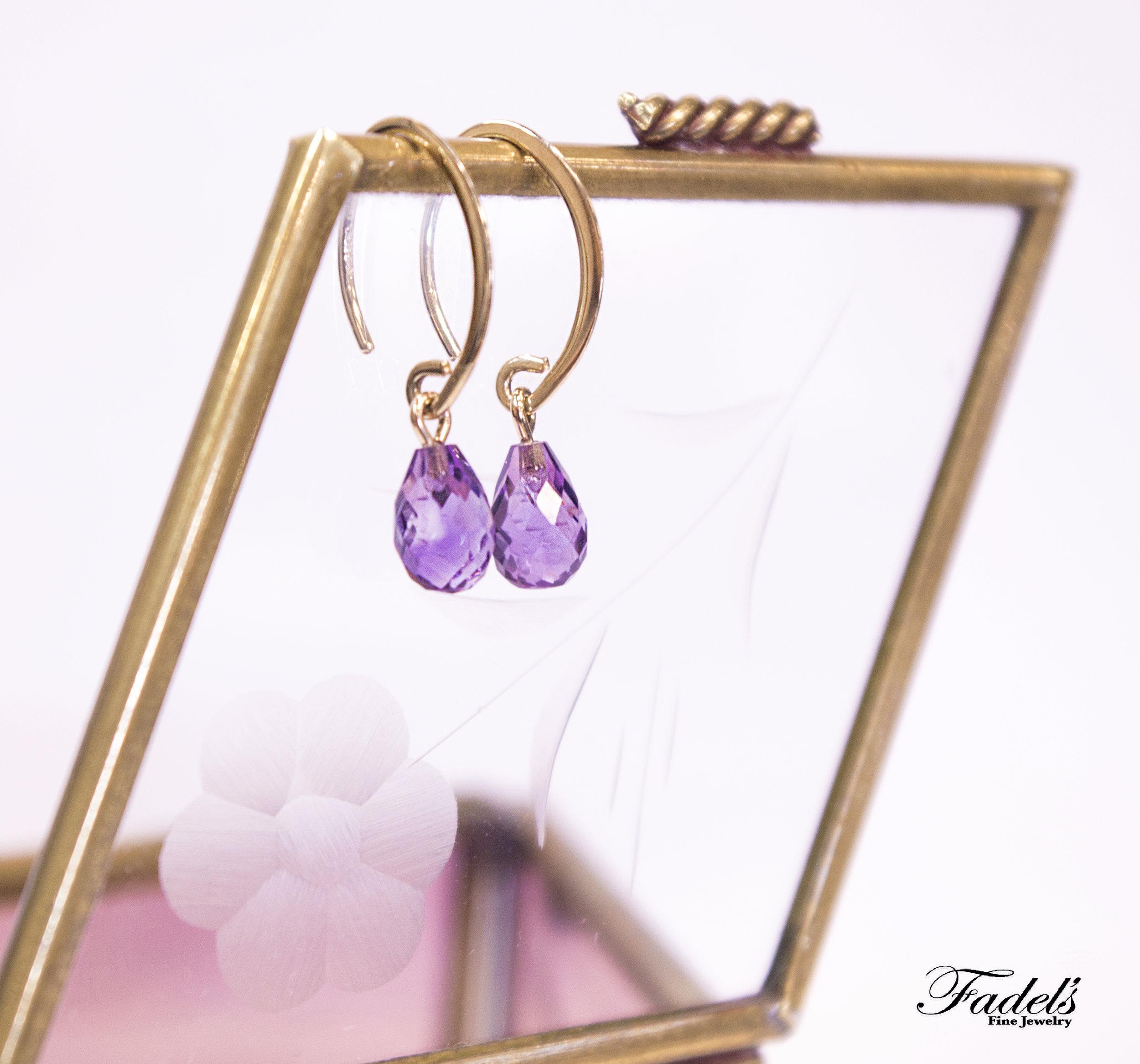Amethyst 14k gold dangle earrings.JPG