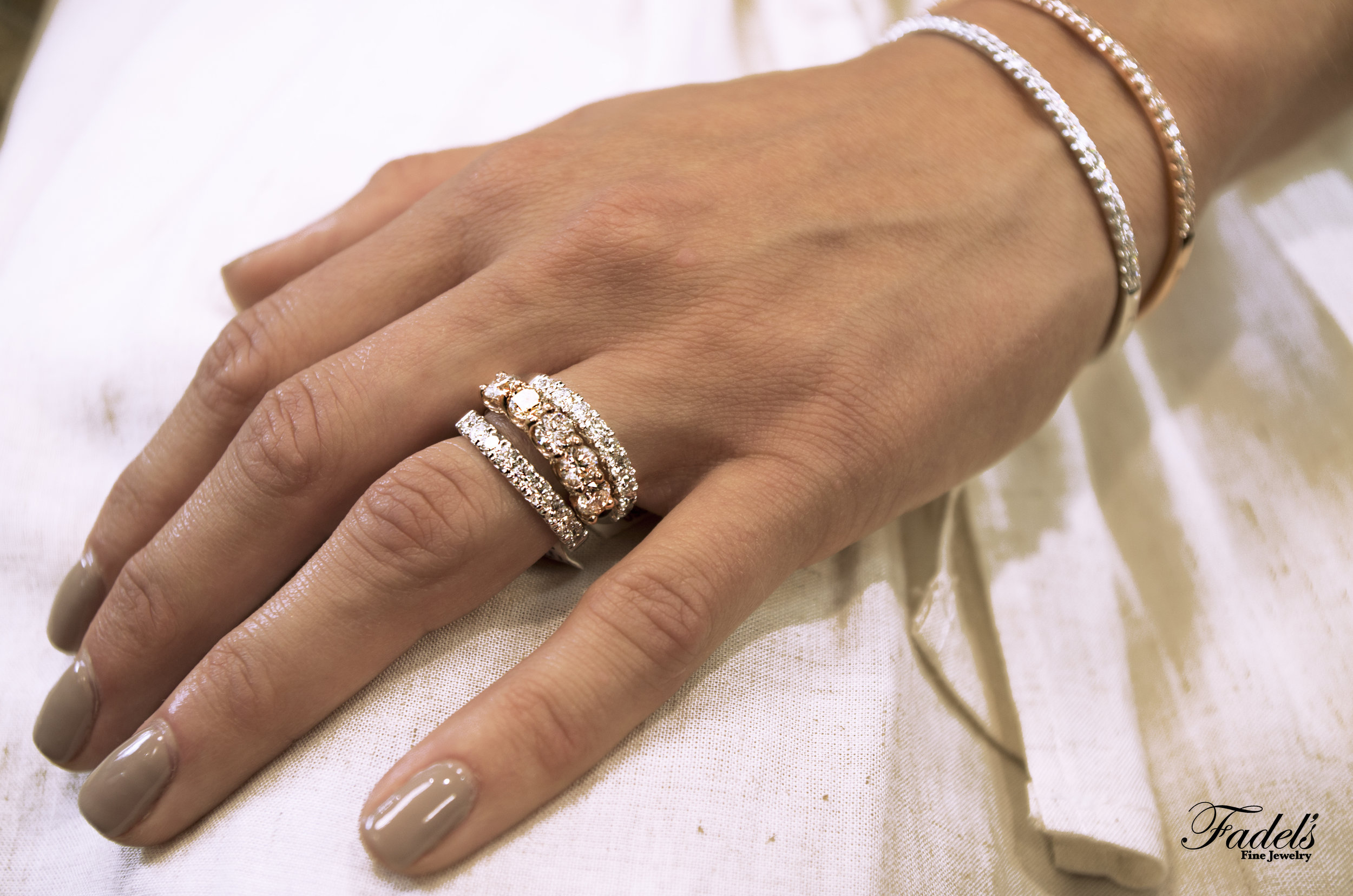 Dia bangle bracelets with Oval dia 14KR ring with two dia stacking bands.JPG