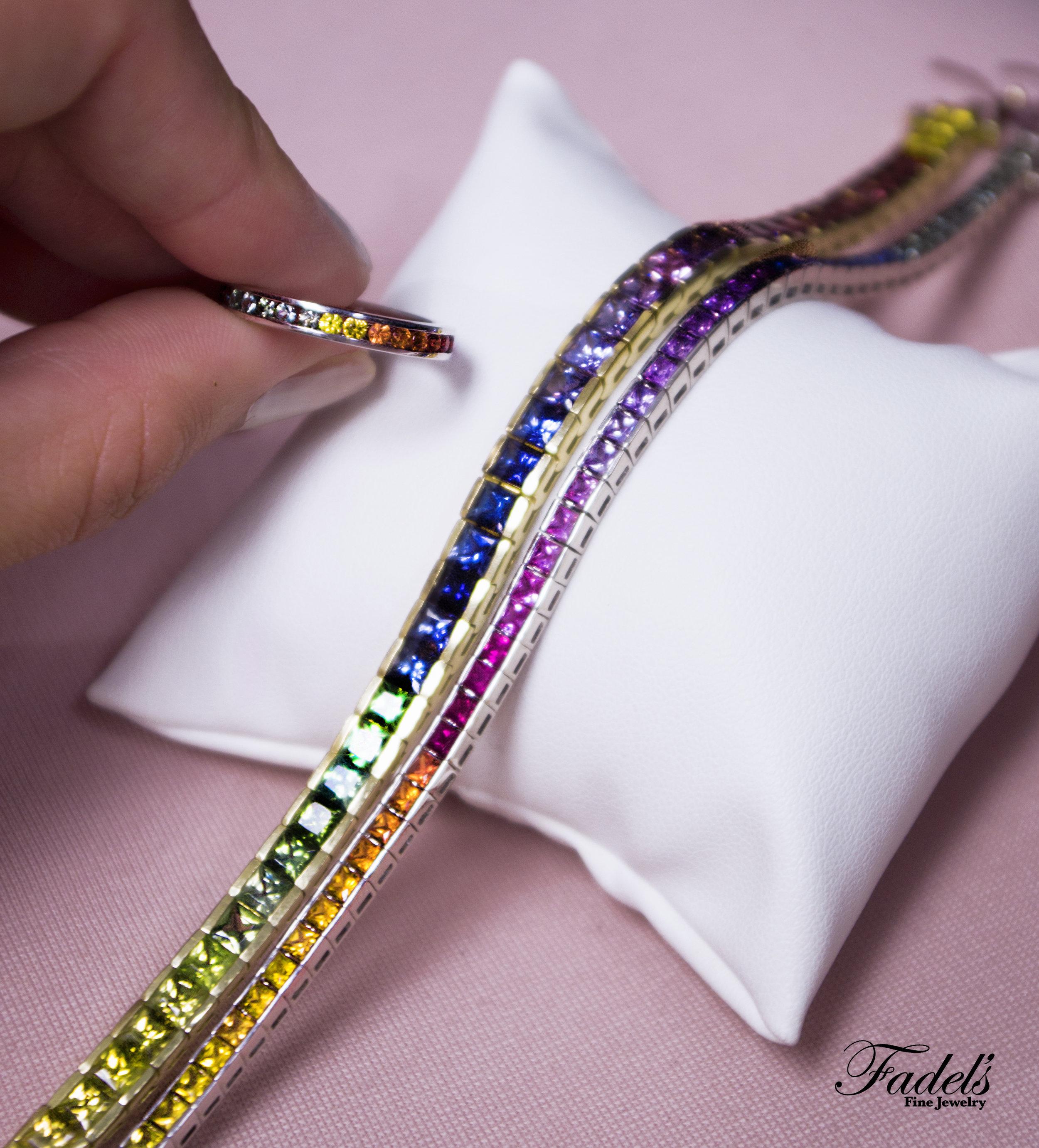 Rainbow Sapphire bracelets and ring.JPG
