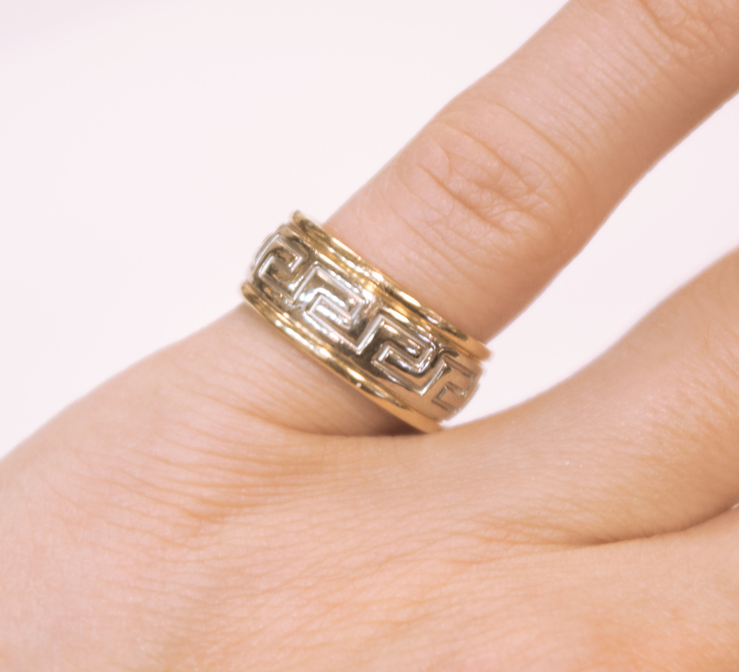 Estate Greek Key band with 14K yellow and white gold.JPG