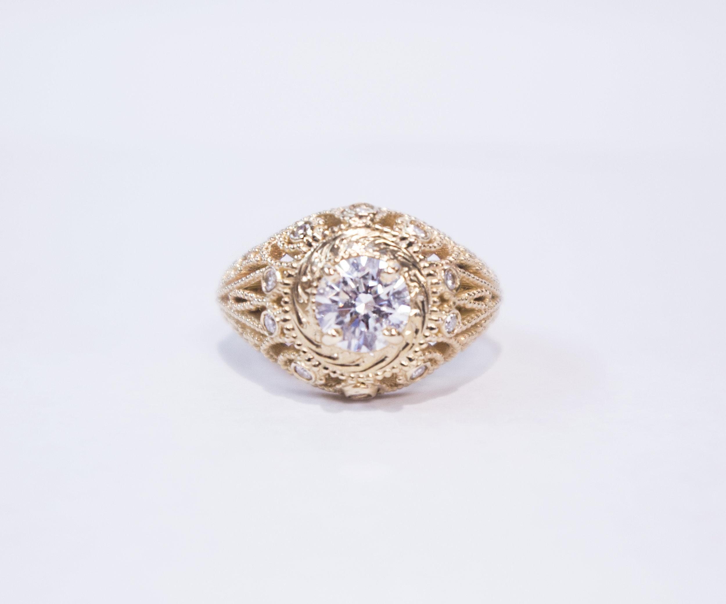 Estate vintage 14K yellow gold diamond engagement ring.JPG
