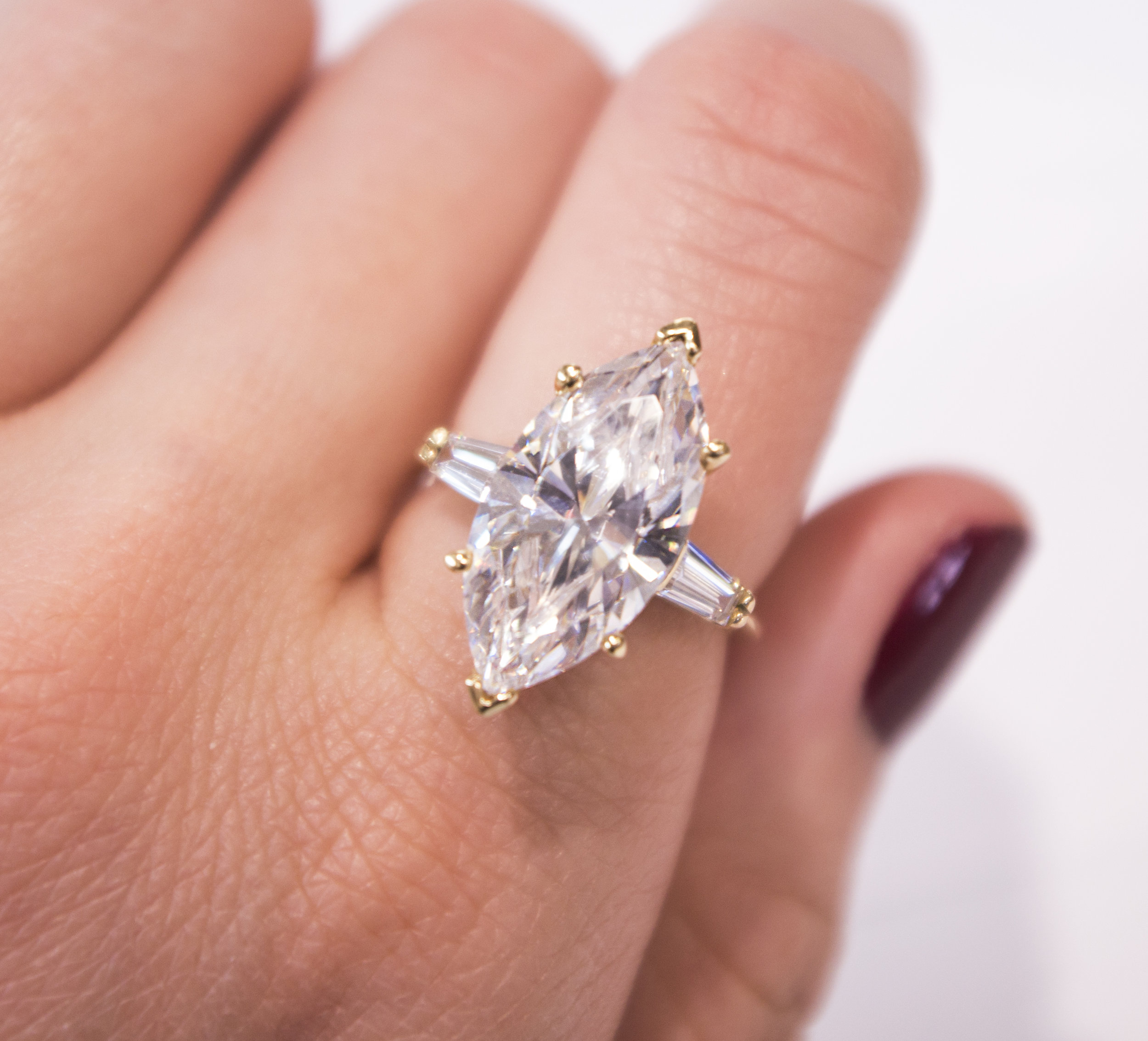 Estate Fake engagement ring with CZ Marquis in 14KY Front.JPG