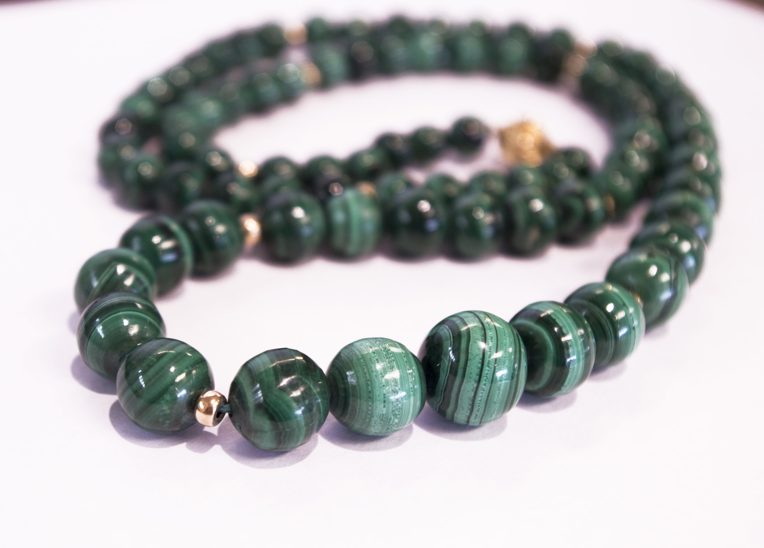 Estate Malachite necklace with 14Ky gold beads and clasp.JPG