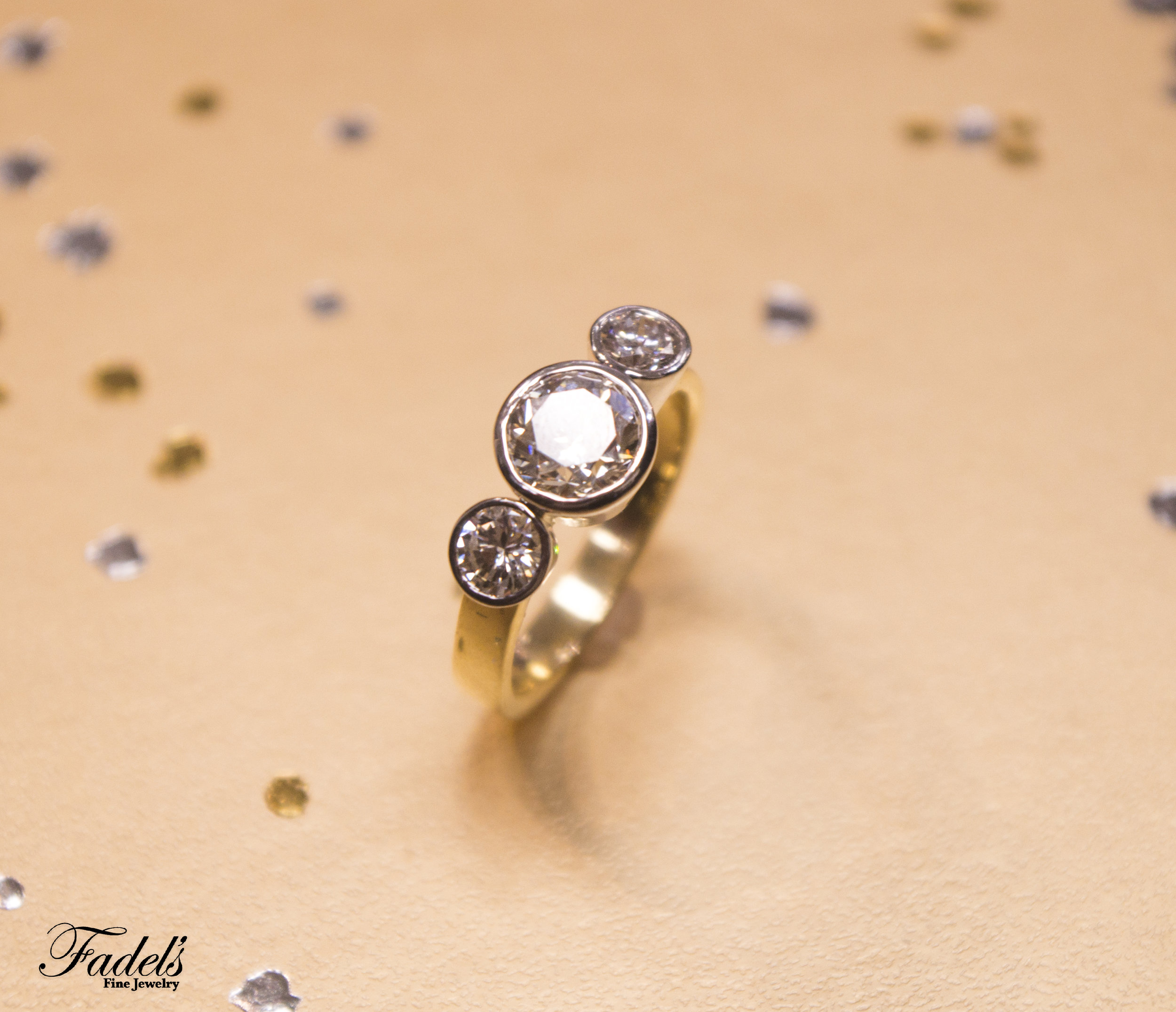 Engagement Ring 2.01 Center Dia Three Stone bezel set .JPG