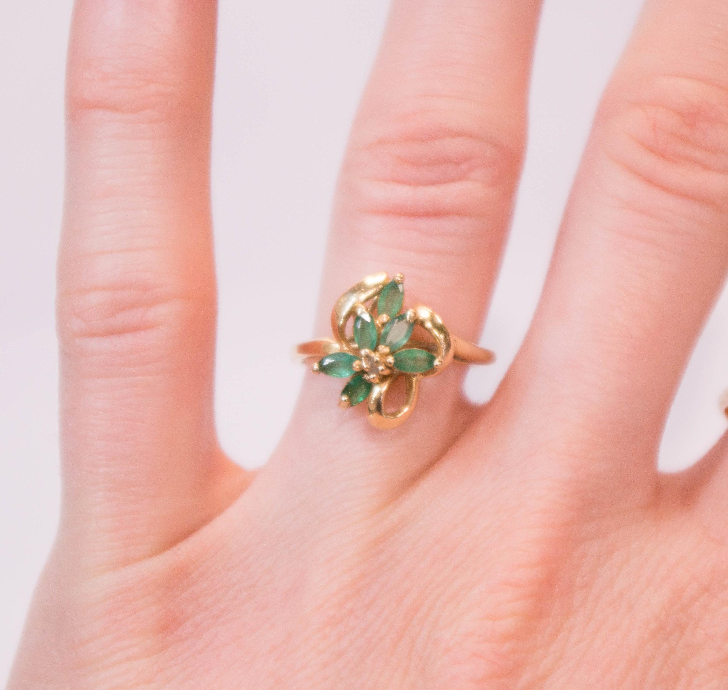 Estate 14KY Marquise Emeralds in Flower design on.JPG
