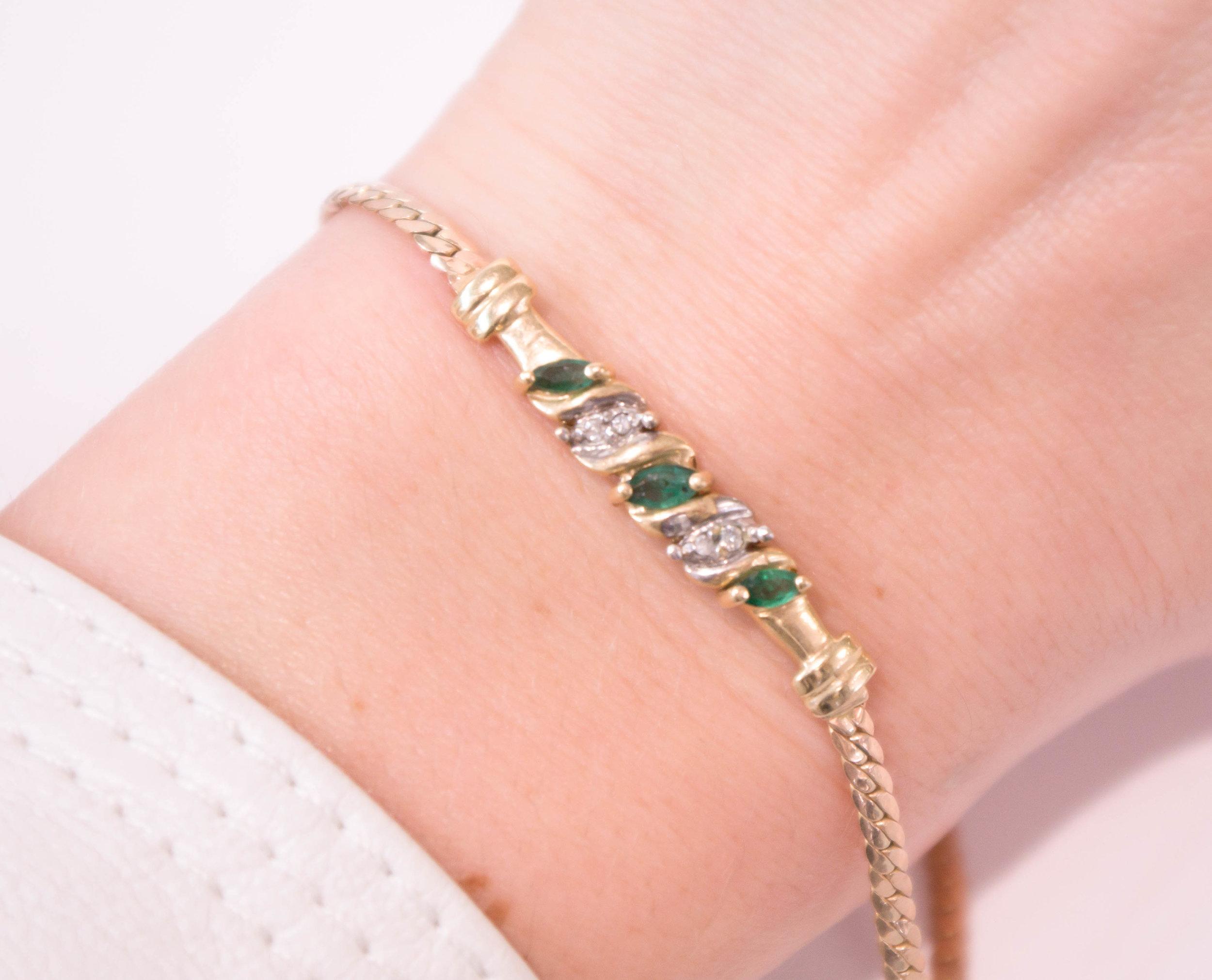 Estate Emerald and Diamond Gold bracelet.JPG
