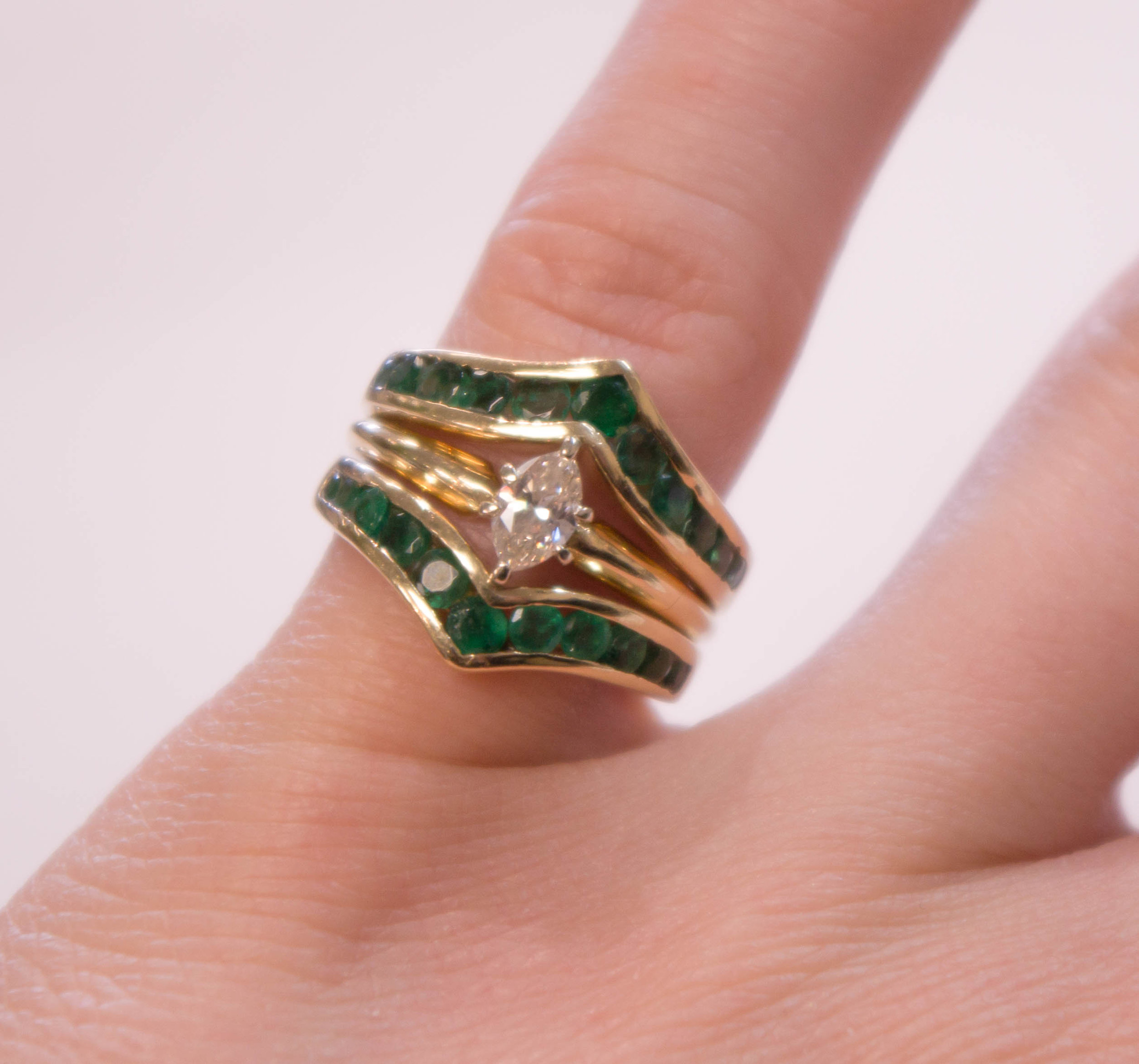 Estate 14Ky emarld and Marquise Diamond Ring.JPG