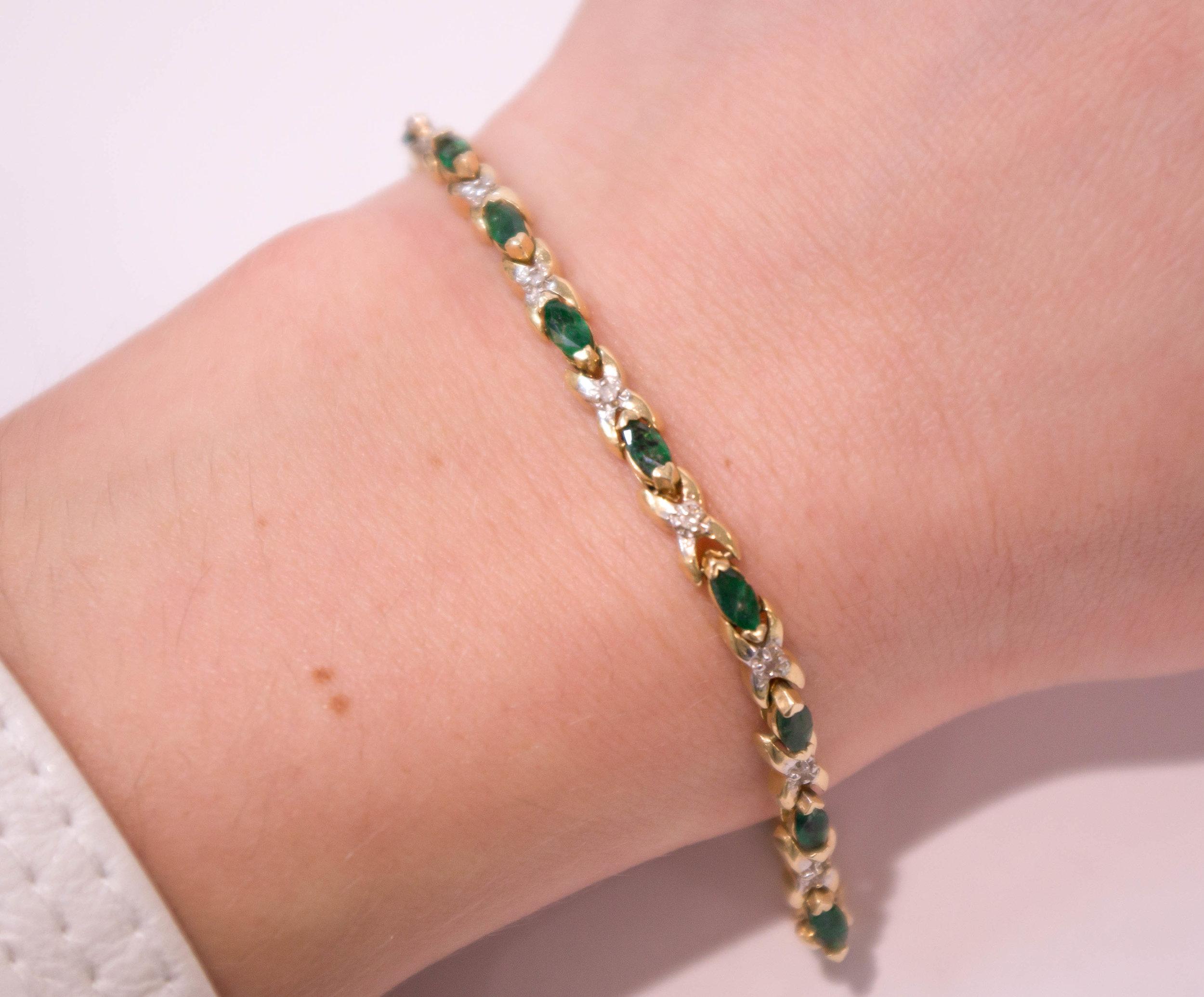 Estate Diamond and Green Bracelet on.JPG