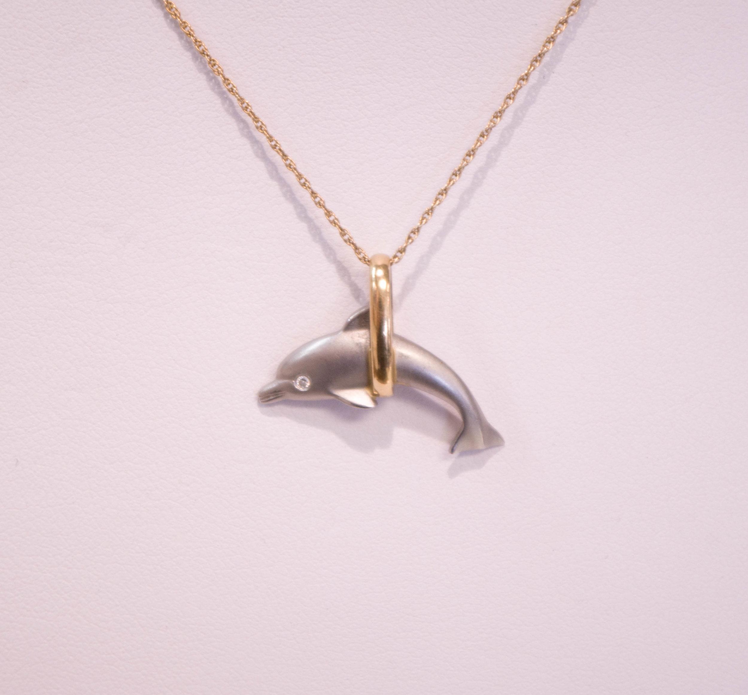 Estate Platinum Dolphin pendant.JPG