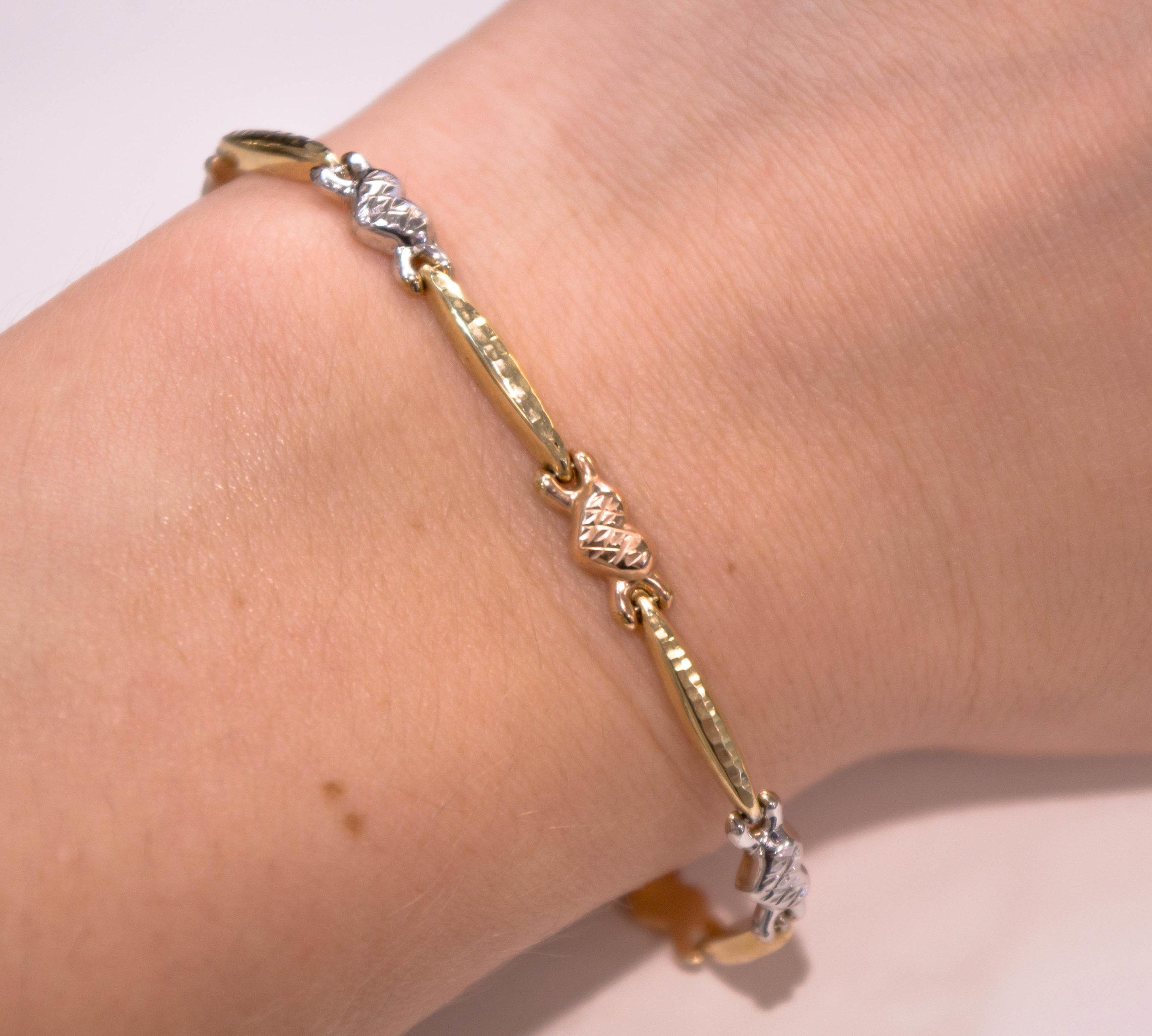 Estate 14K Tri color heart bracelet .JPG