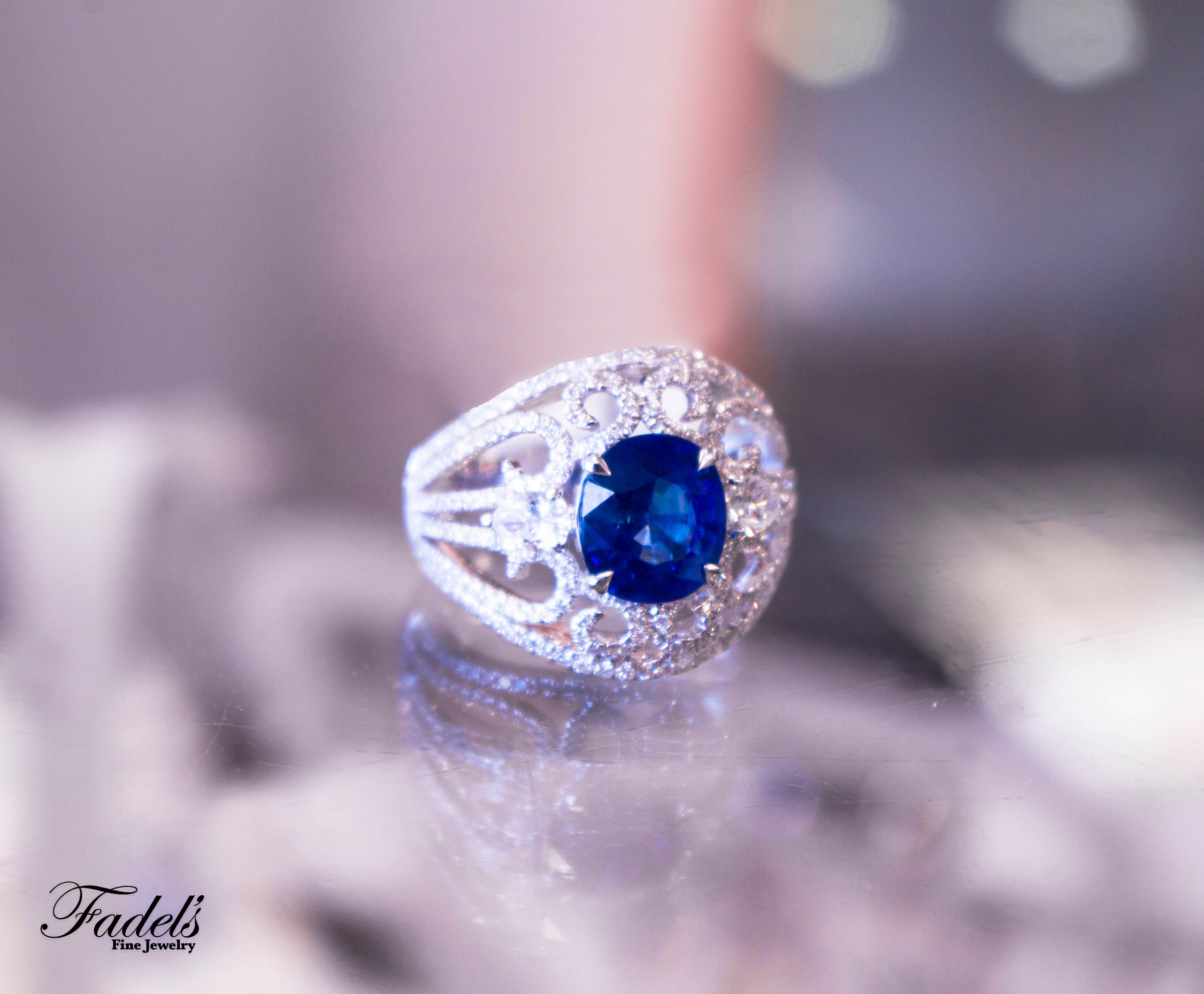 Right Hand Ring Blue sapphire in 14KW with Diamonds.JPG