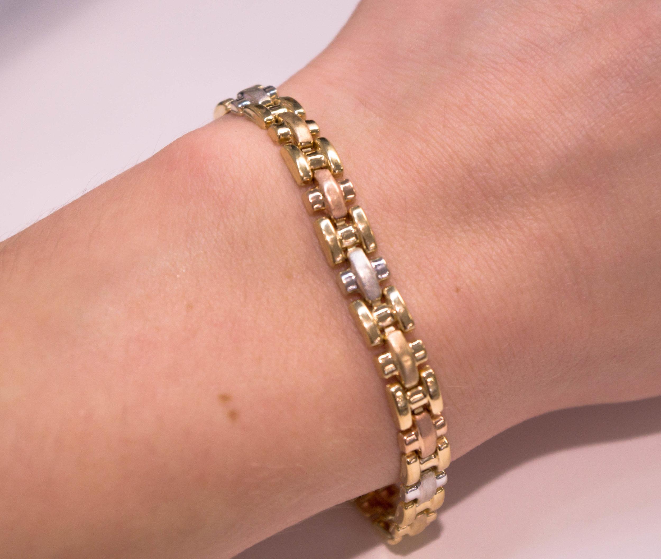 Estate Tri Color 14K Gold bracelet 2.JPG