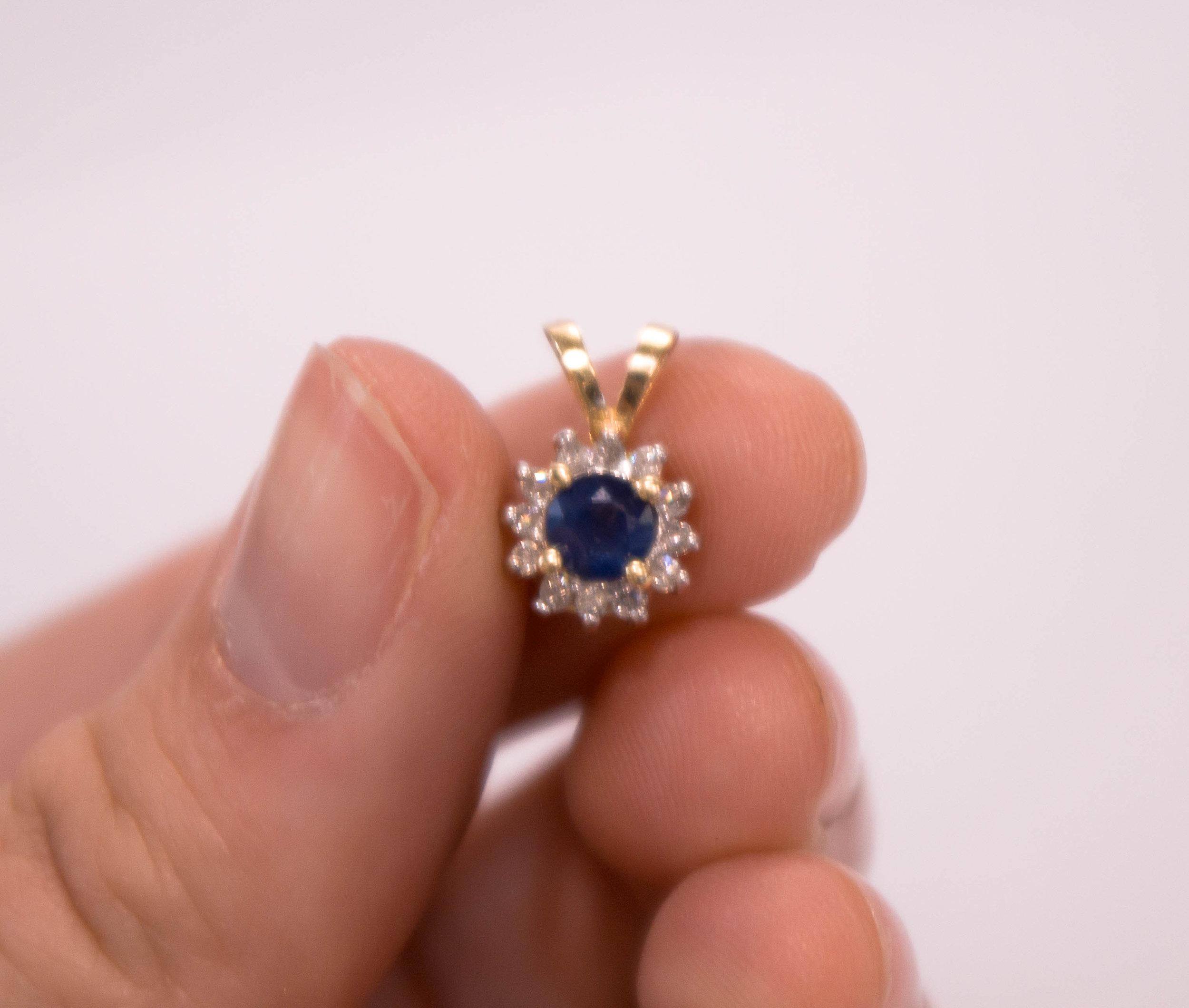 Estate 14K Blue Sapphire and Diamond Pendant 3.JPG