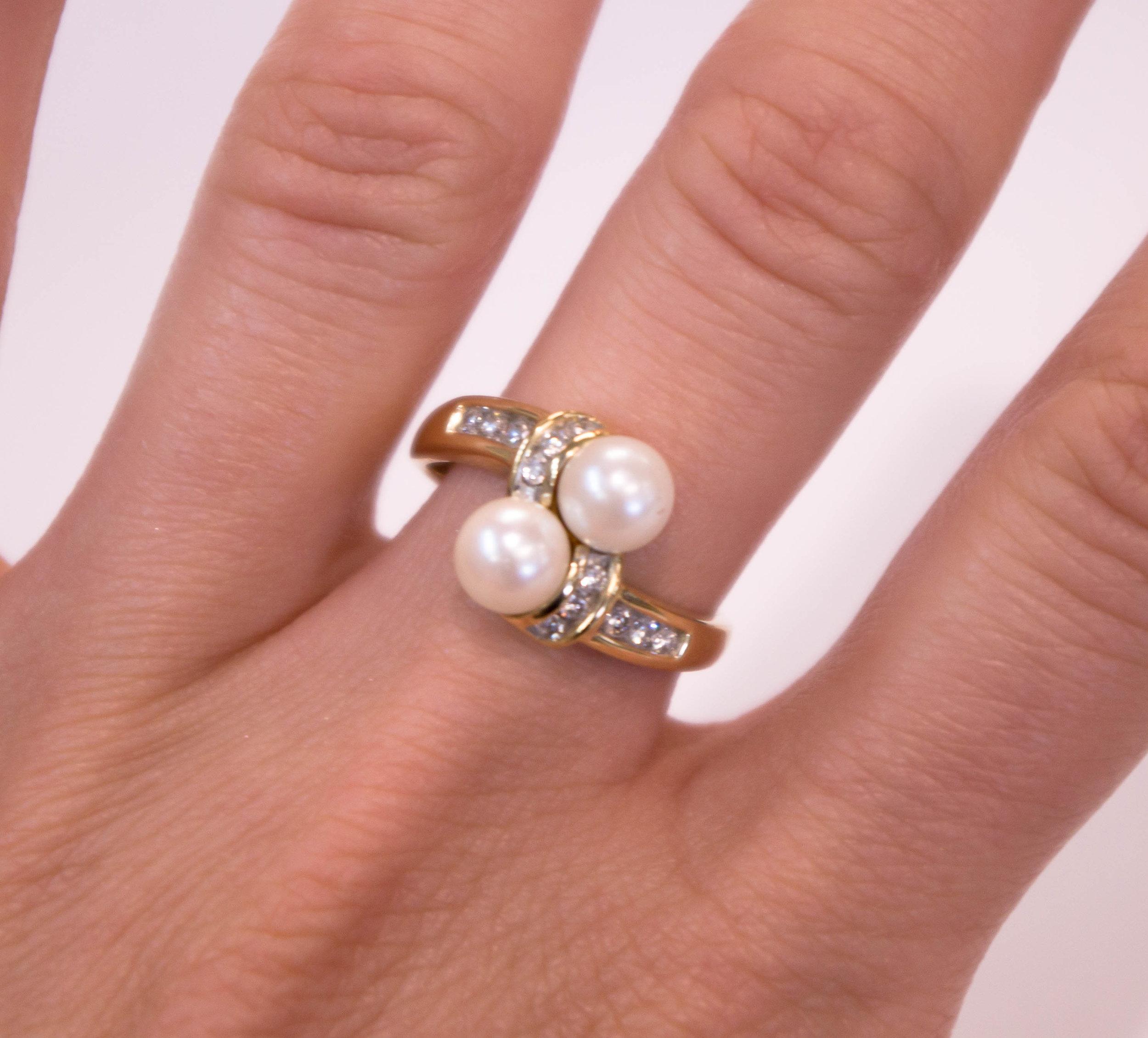 Estate 10K Double pearl diamond ring.JPG