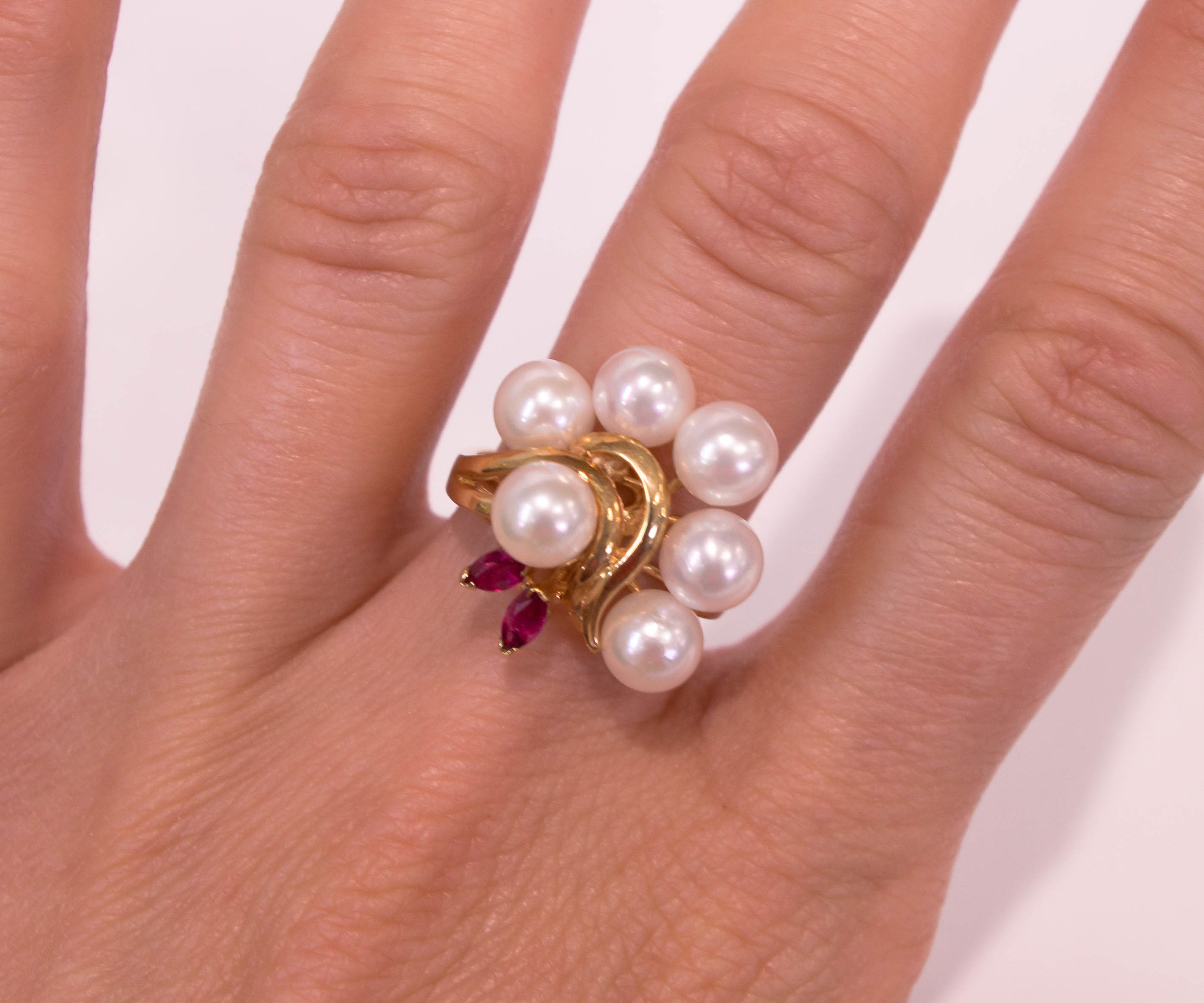 Estate 14KY Ruby and Pearl Cocktail ring.JPG