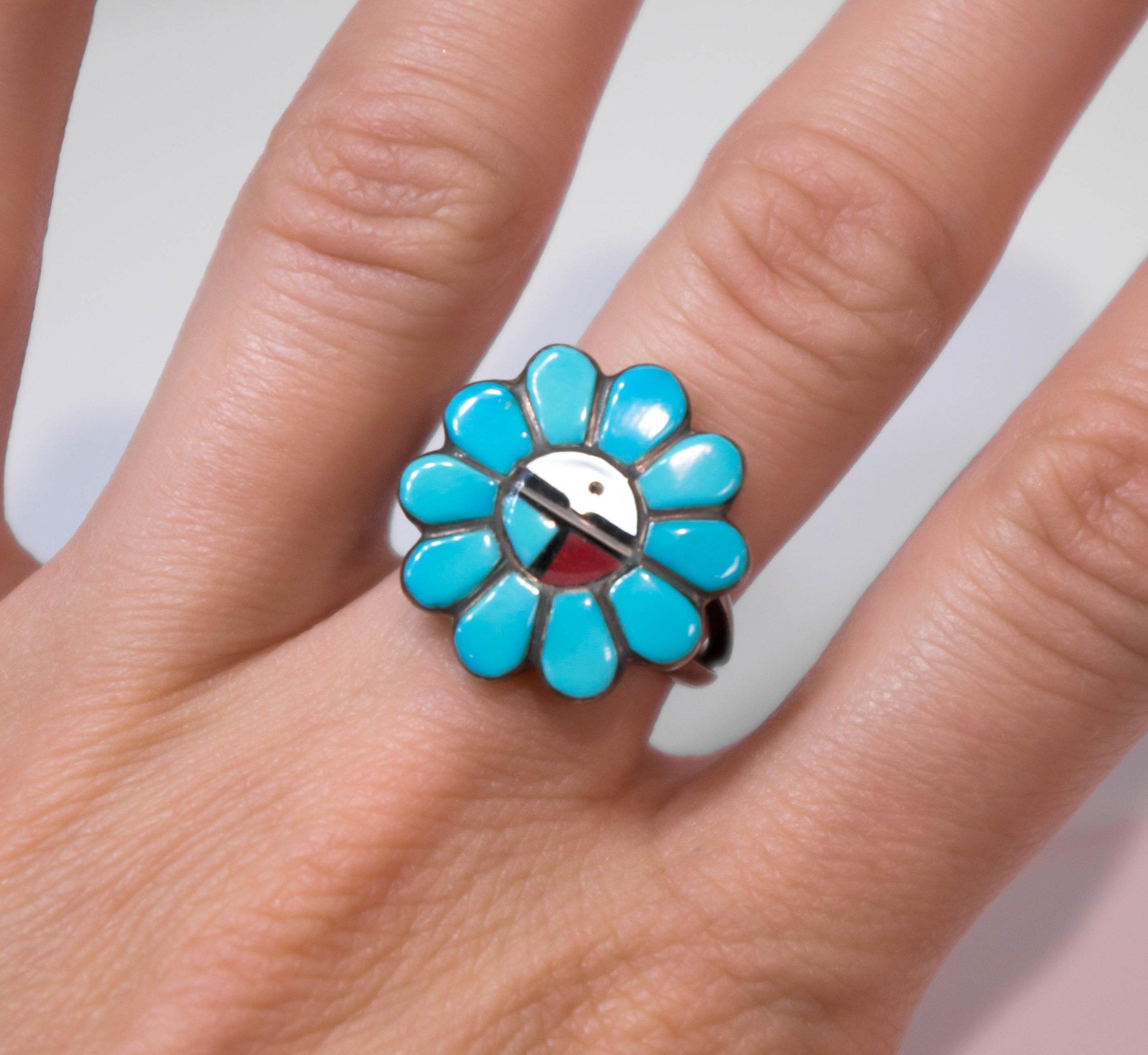Estate Turquoise flower ring in SS 2.JPG
