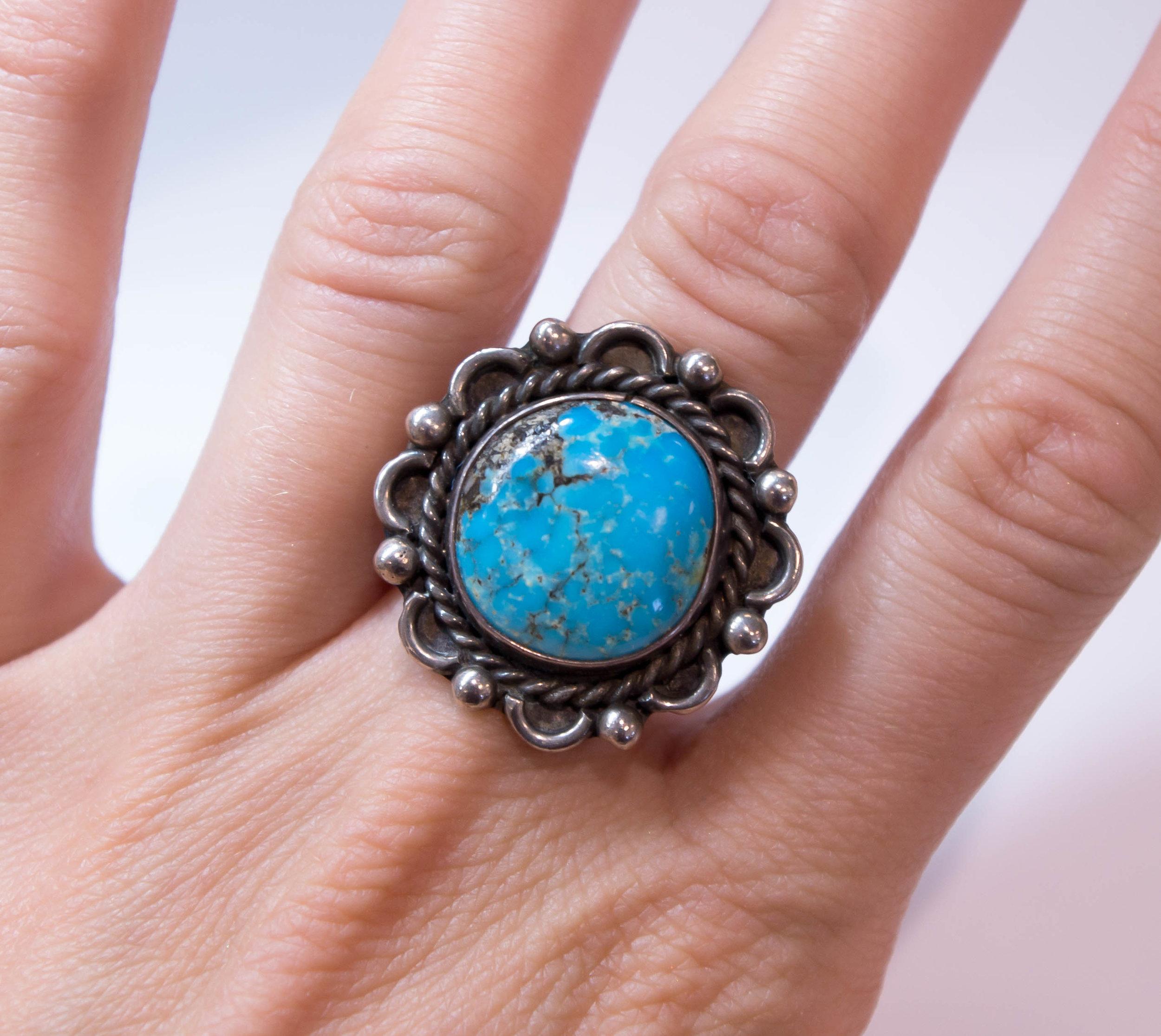 Estate Turquoise ring 925 on.JPG