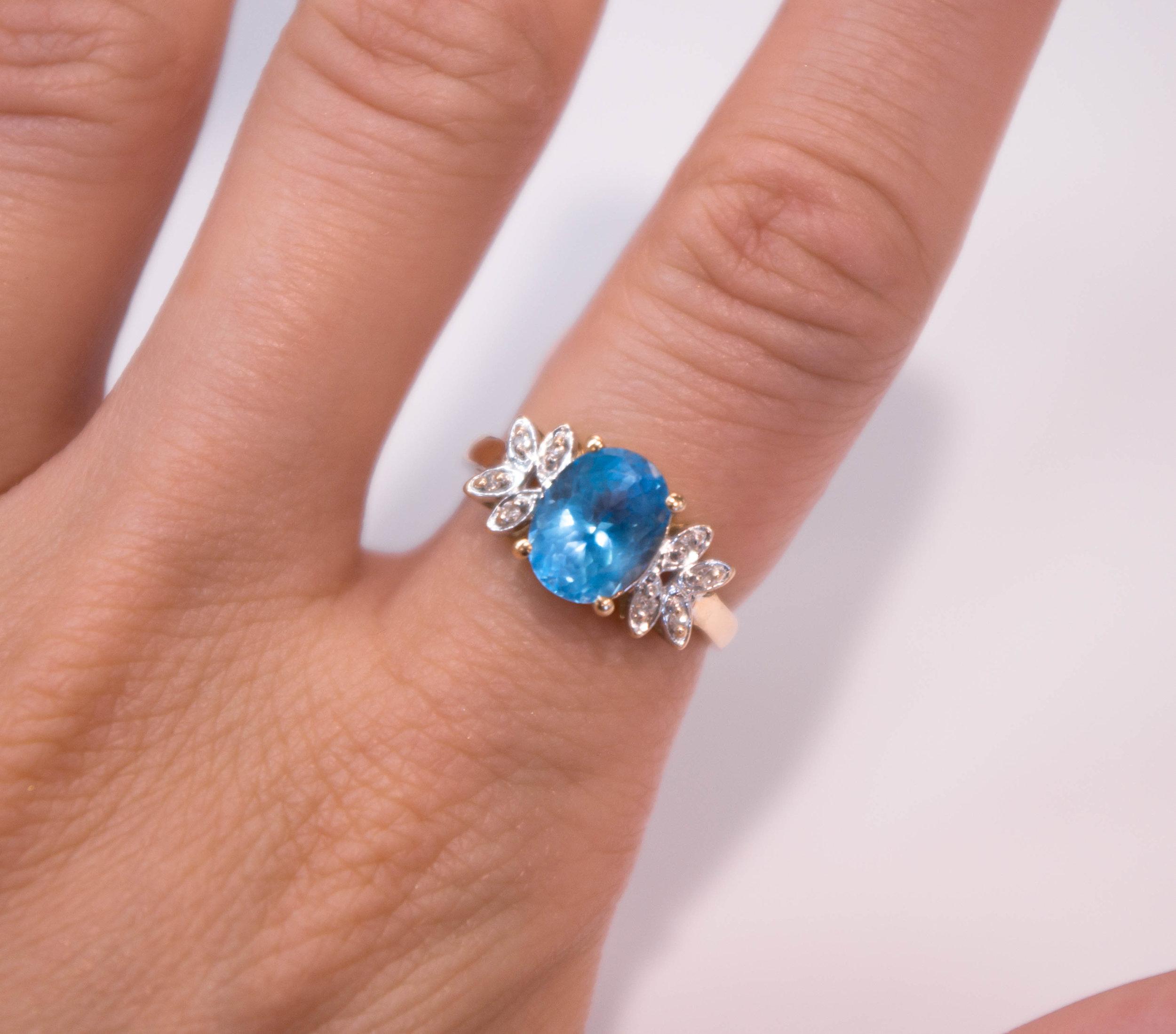 Estate 14KY Blue Topaz diamond ring side on.JPG