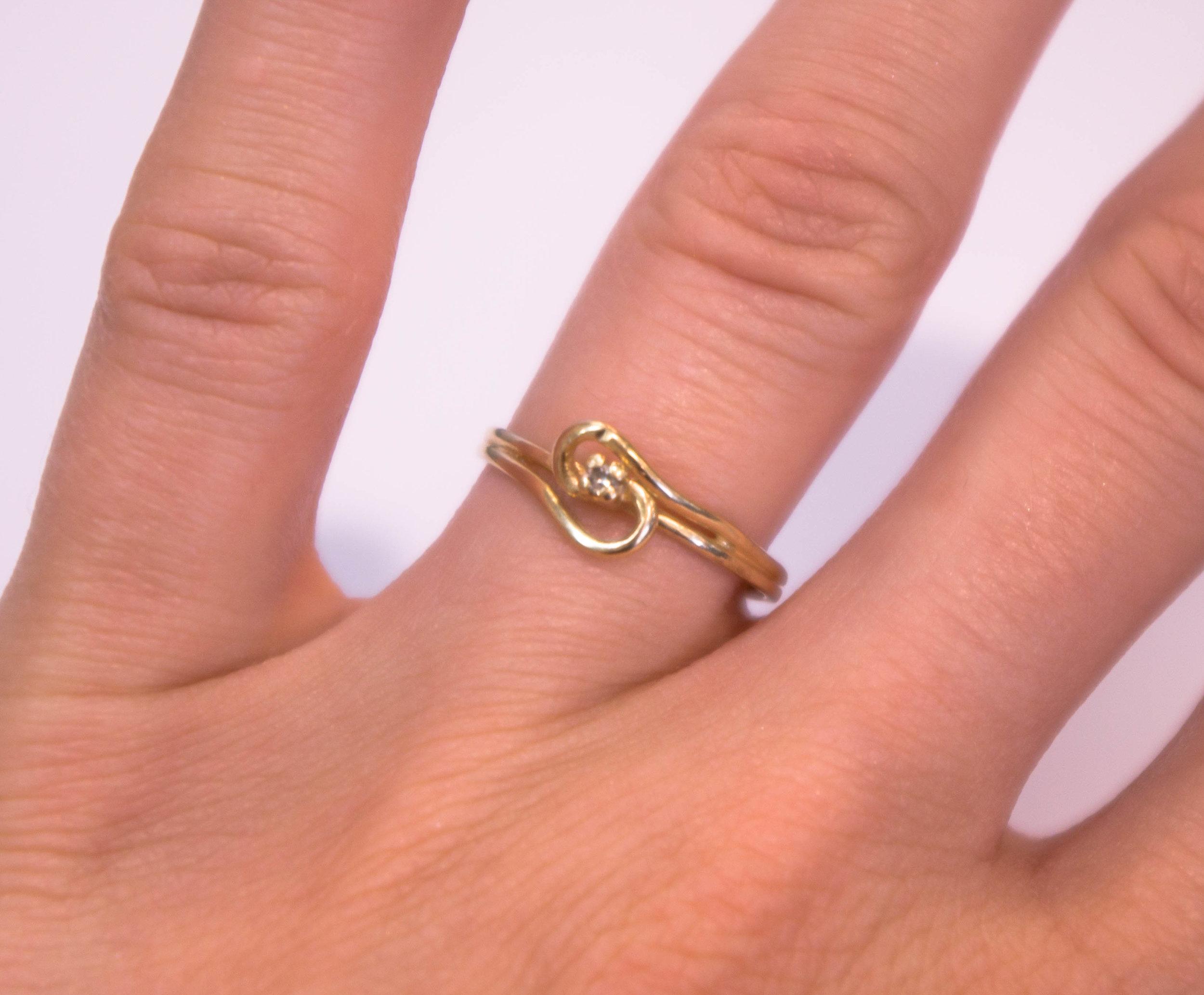 Estate promise dent ring diamond front.JPG