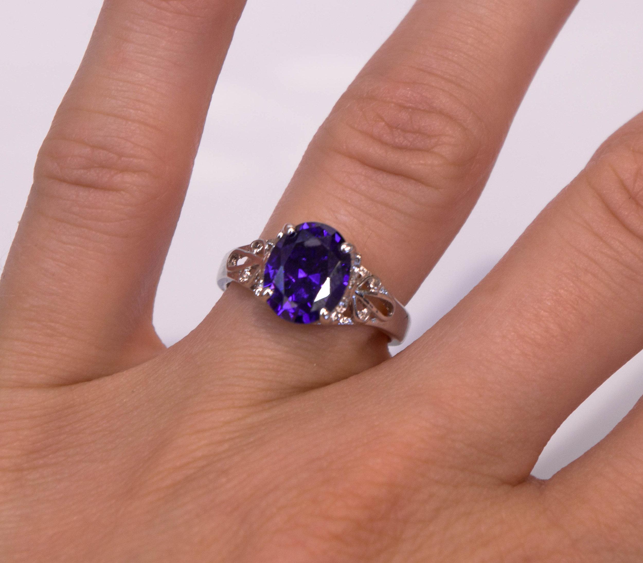 Estate SS purple stone ring front.JPG