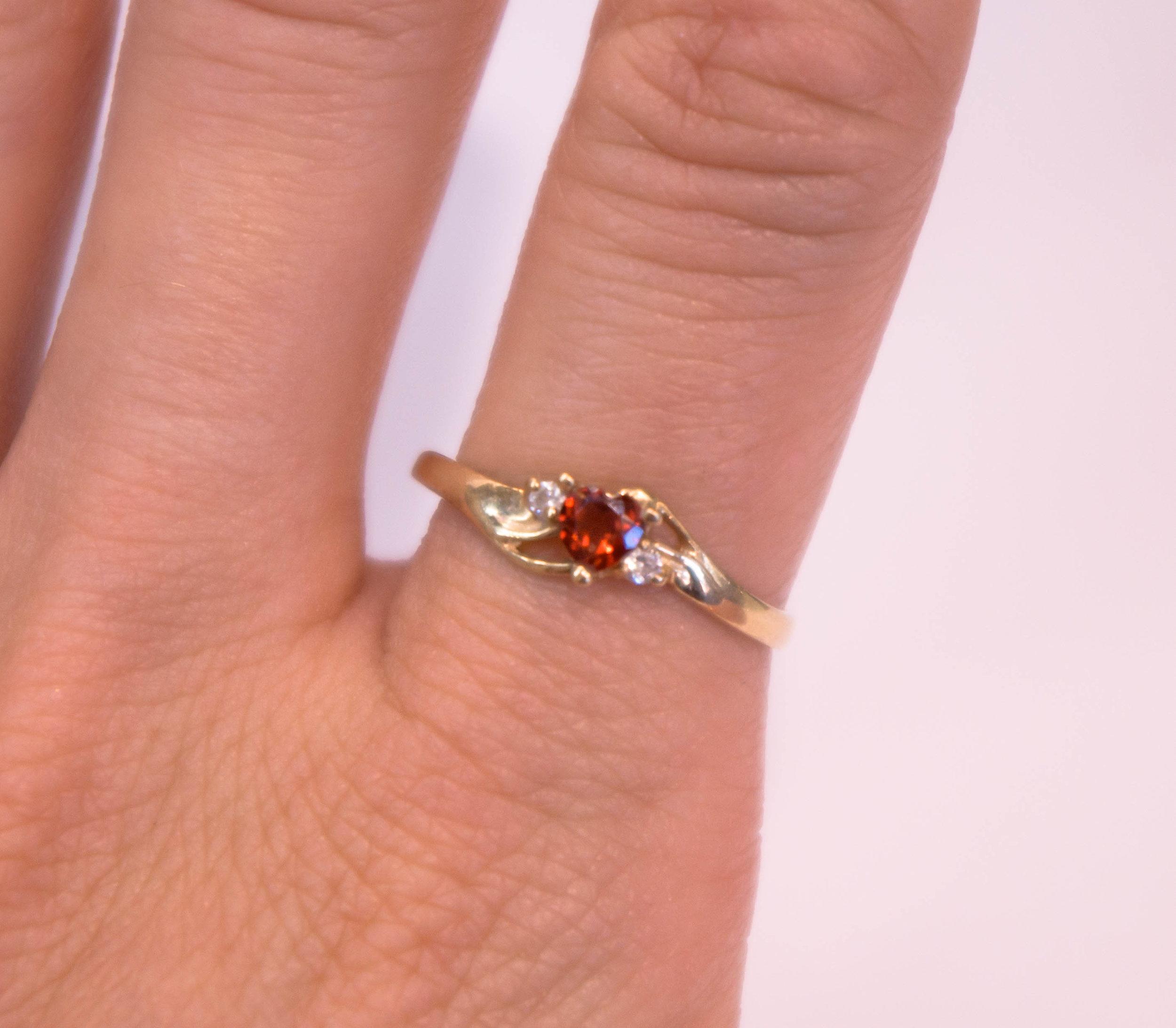 Estate heart garnett diamond ring.JPG