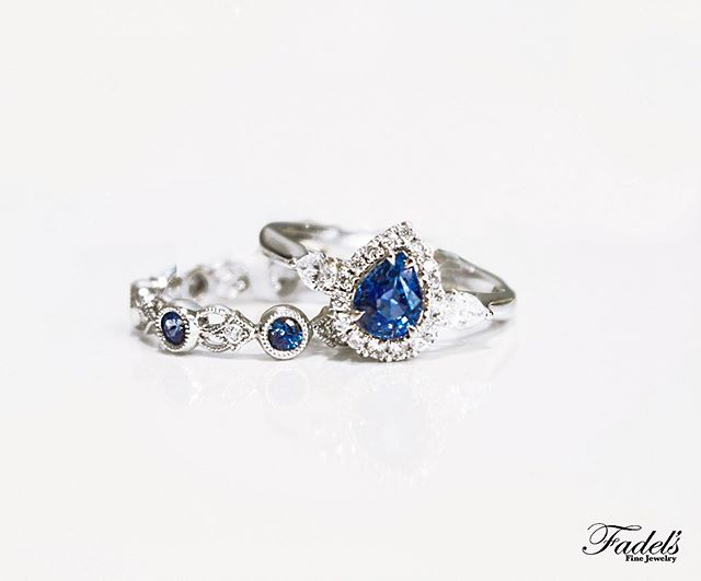 September birthstone stack for the birthday girl!💙 The elegant symbol of Sapphires combined with the regal 3-stone pear shape and diamond stacking makes the perfect gift for her! . . #Sapphire #SeptemberBirthday #SapphireDiamondRing #PearShape #Intricate #HandcraftedJewelry #BirthdayGiftForHer #3StoneRing #UniqueJewelry #BirthdayBlue #SeptemberBirthstone #PearHalo #Symbolic #Faithful #Wisdom #Gemstone #AnniversaryGift #SeptemberAnniversary #UtahJeweler #SLCJeweler #BountifulsJeweler #FineJewelry #FamilyJeweler #fadelsringselfie