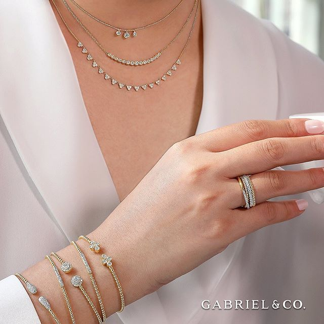 More is ALWAYS more when it comes to layering your jewelry! 💗It is the perfect time to mix and match pieces such as necklaces and bracelets while expressing your individuality! . . #GabrielAndCoBracelets: BG4119Y45JJ, BG4119-65Y45JJ, BG4124Y45JJ, BG4230-65Y45JJ, BG4123Y45JJ #GabrielAndCoRings: LR51463Y45JJ, LR50992W45JJ, LR51172Y4JJJ #GabrielAndCoNecklaces: NK6029Y45JJ, NK5797Y45JJ, NK6023Y45JJ  #GabrielCoRetailer #GabrielNY #GabrielAndCo #DiamondRings #Ring #FineJewelry #WhiteGold #Diamonds #BangleBracelets #RingBling #Bangles #GoldBangles #DiamondBracelets #DiamondBangles #UniqueJewelry #JewelryLovers #Necklaces #UniqueNecklace #DiamondNecklace #YellowGold #GoldNecklace #GiftIdeas