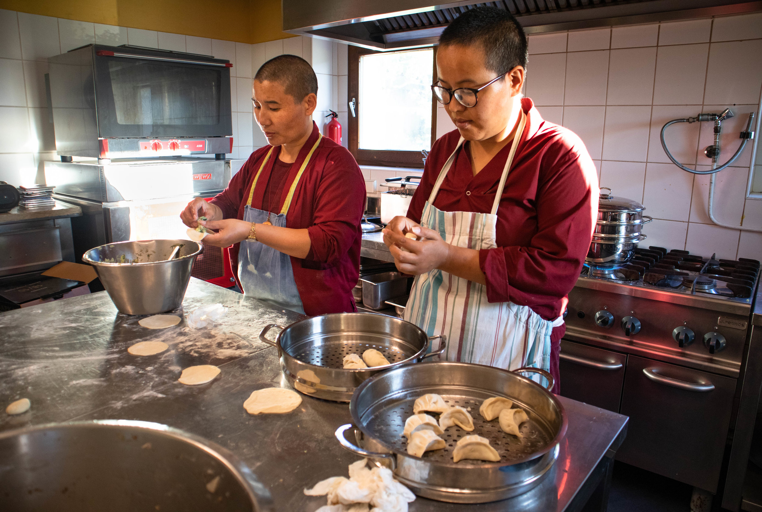 Nuns making fabulous dumplings by hand!