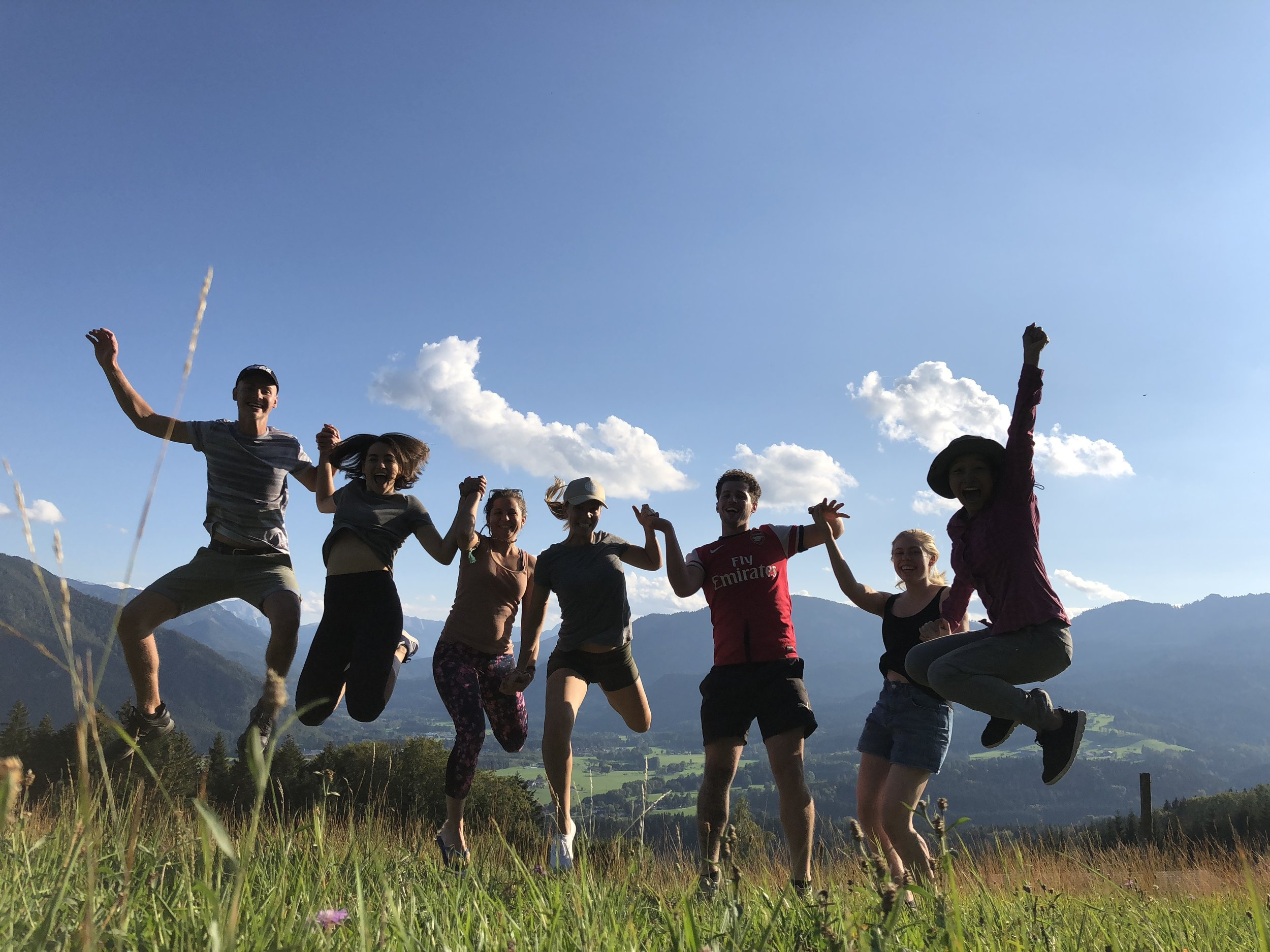 playing fellow volunteers at the buddhist center into doing a jump shot after we climbed to the top of a mountain near Gomde.