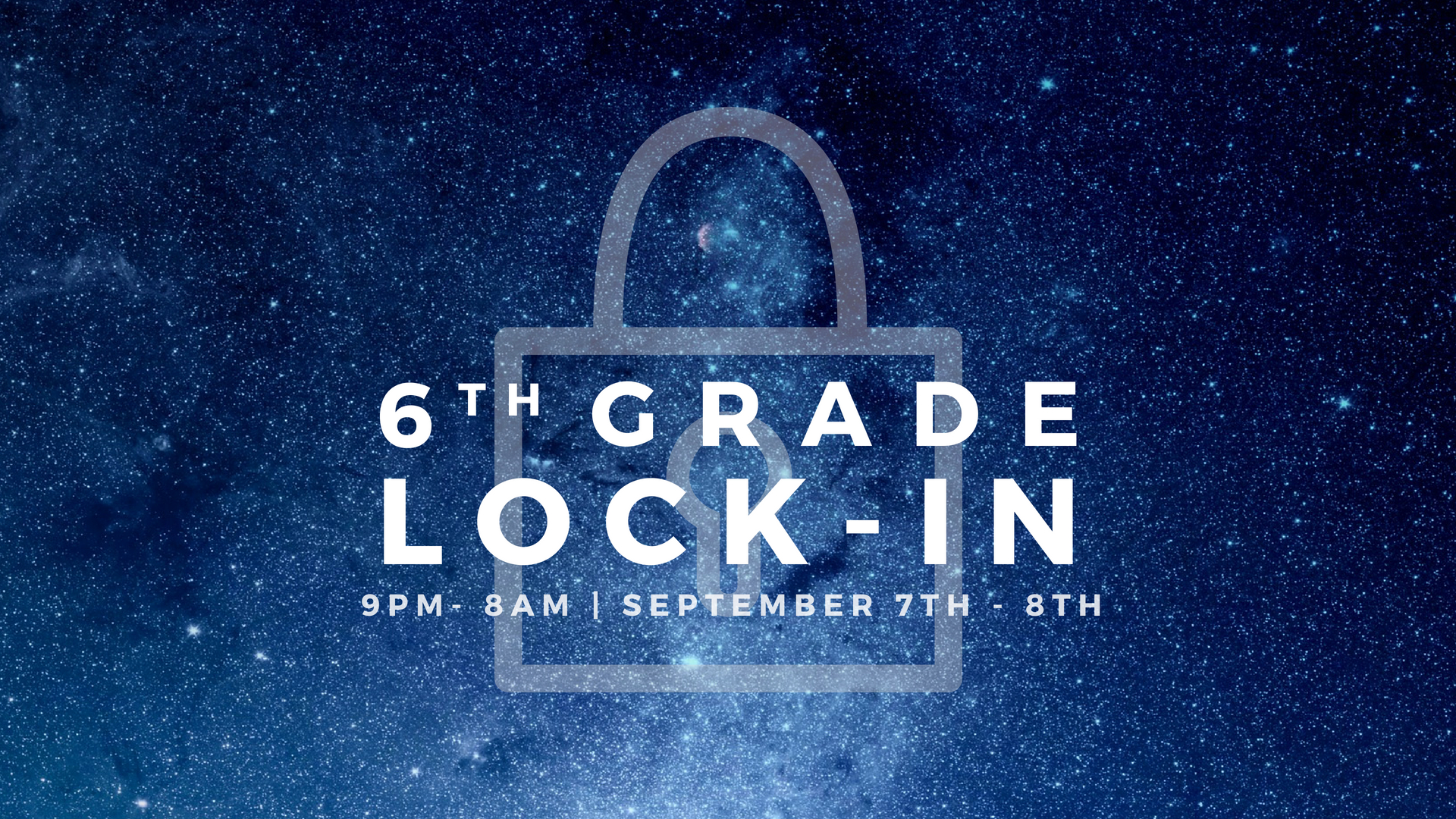 If you're in 6th grade, we have an event just for you! Come hangout at Cornerstone on Friday, September 7th-8th from 9:00pm to 8:00am for a night of crazy fun games, tasty snacks, and some sleep (if you want)! Feel free to invite all of your 6th grade friends! This event costs $10 per person.To register for this event  CLICK HERE !