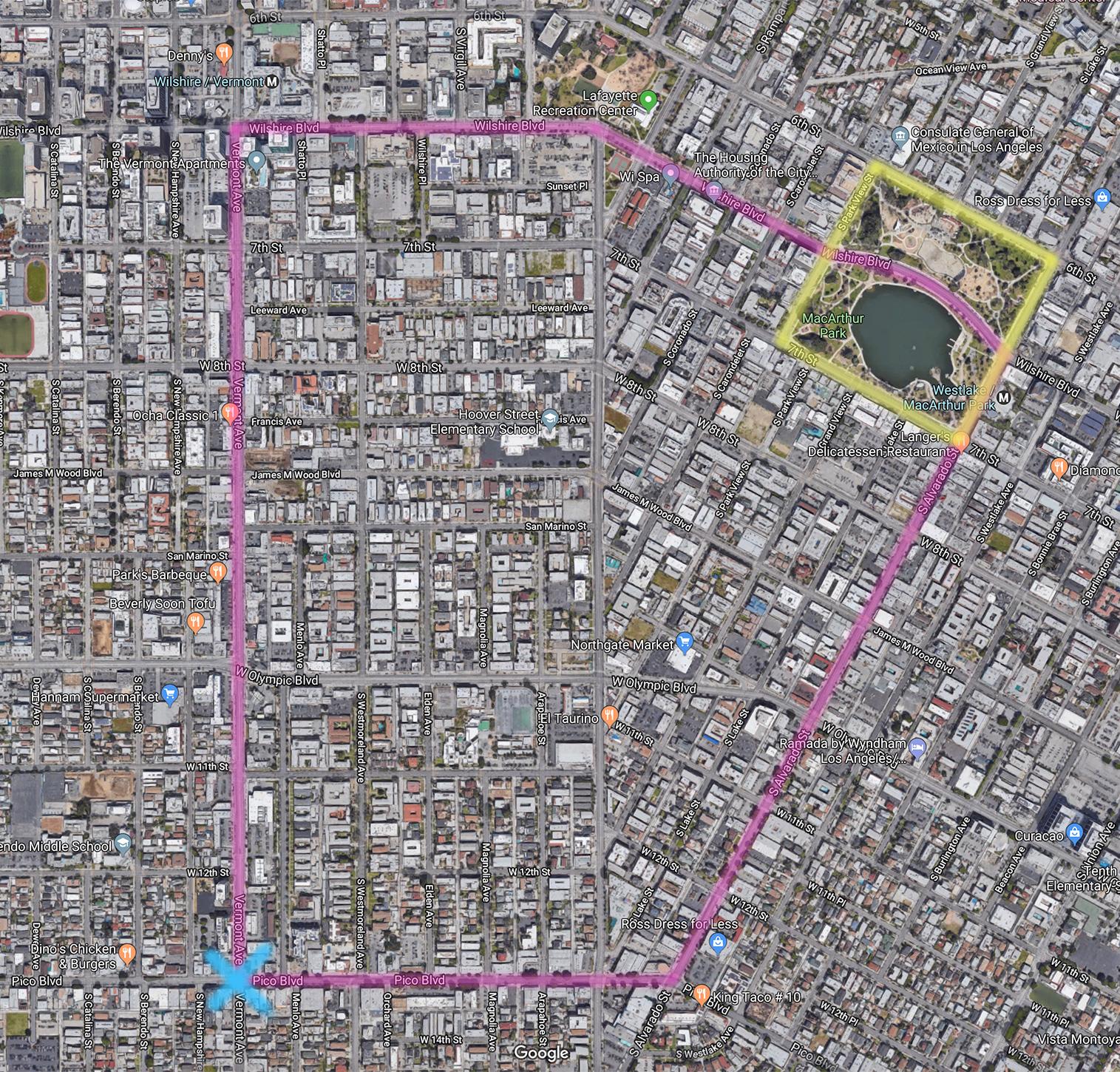 ................. yellow - macarthur park ................. blue - parade start ................. pink - parade route .................