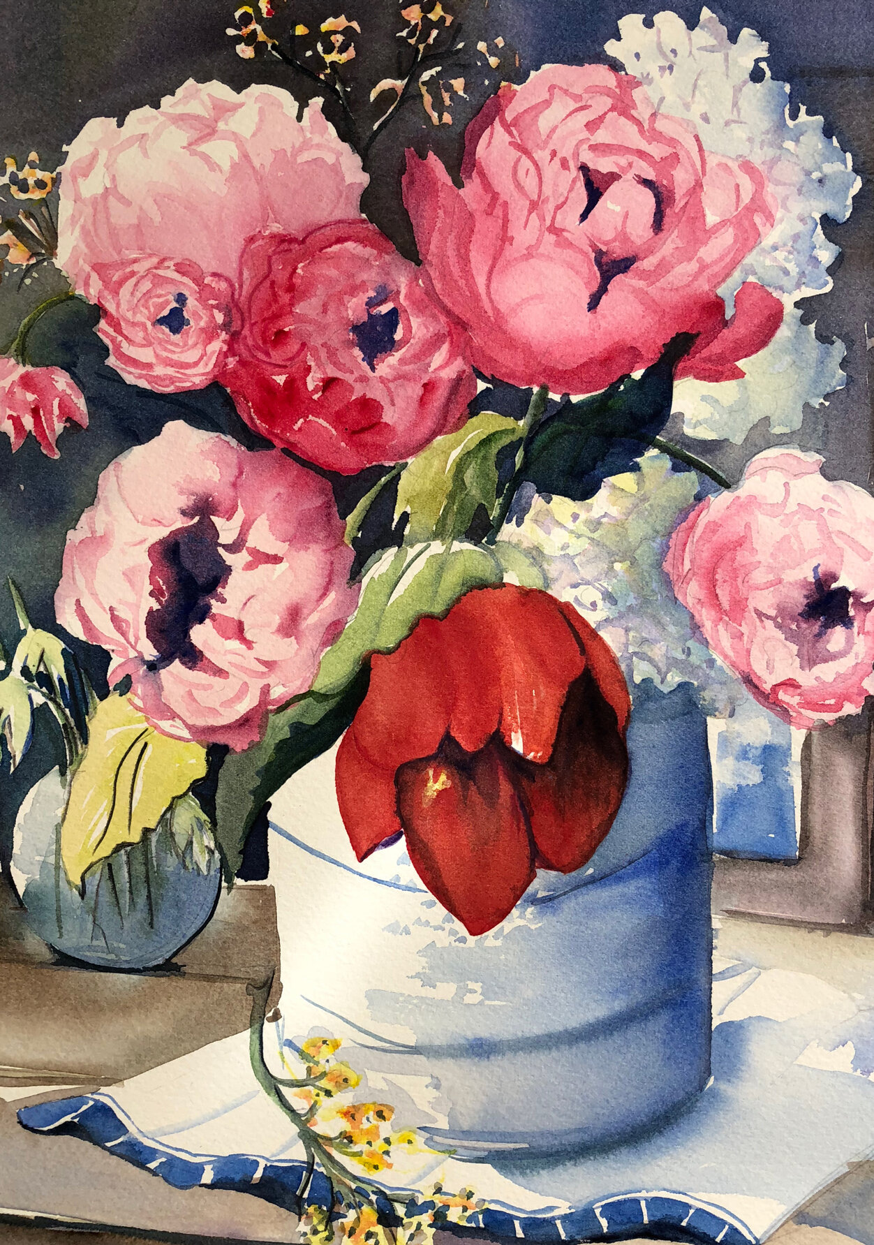 PEONIES & TULIP  350mm x 540mm - unframed  $440   ENQUIRE
