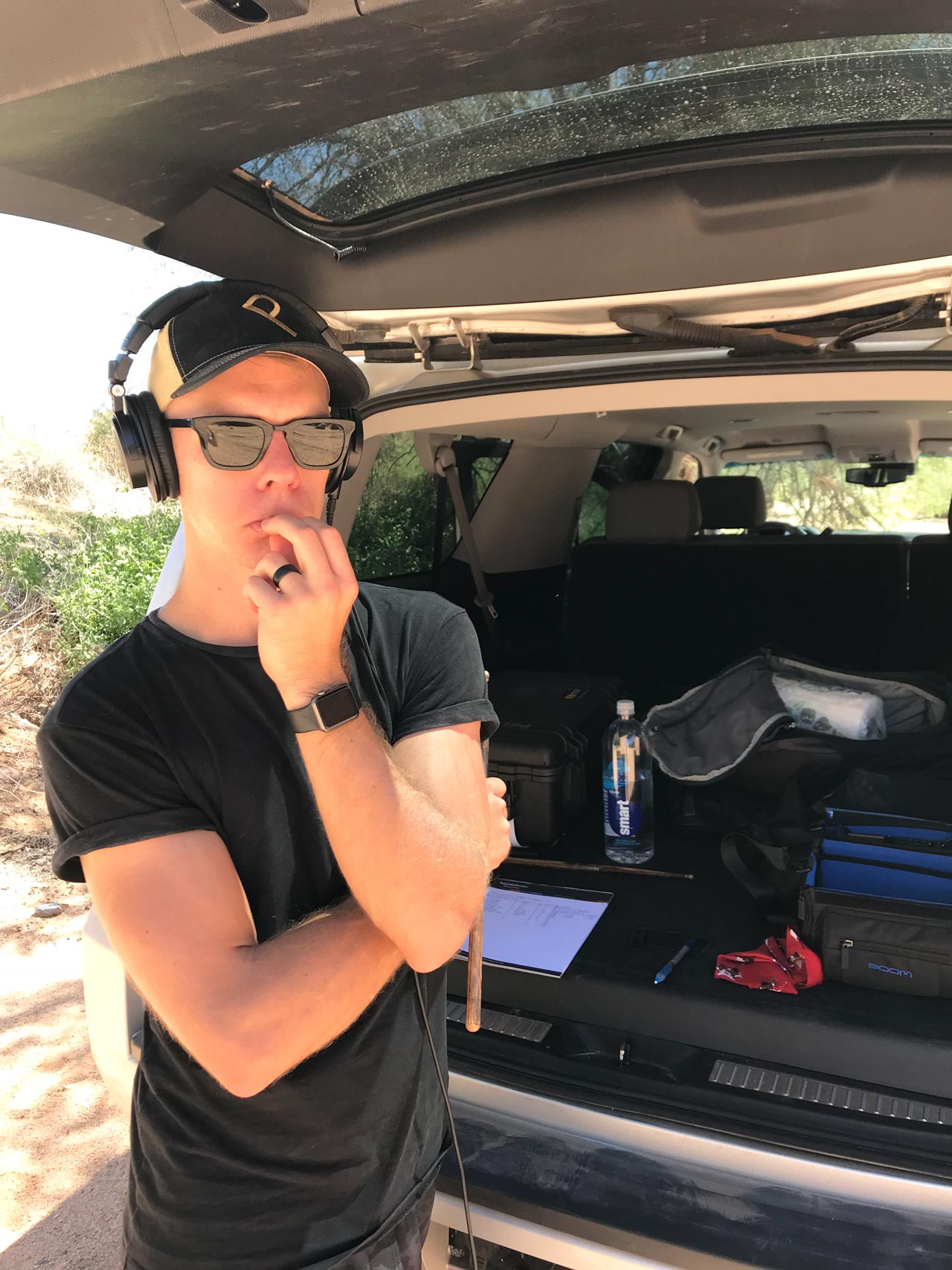 Circles Engineer Stefan Runstrom Evaluating Sounds In The Mobile Studio