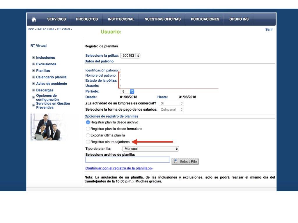 """No es necesario """"hacer"""" la planilla, sólo deben ingresar a RT Virtual y seleccionar la opción Registrar sin trabajadores"""