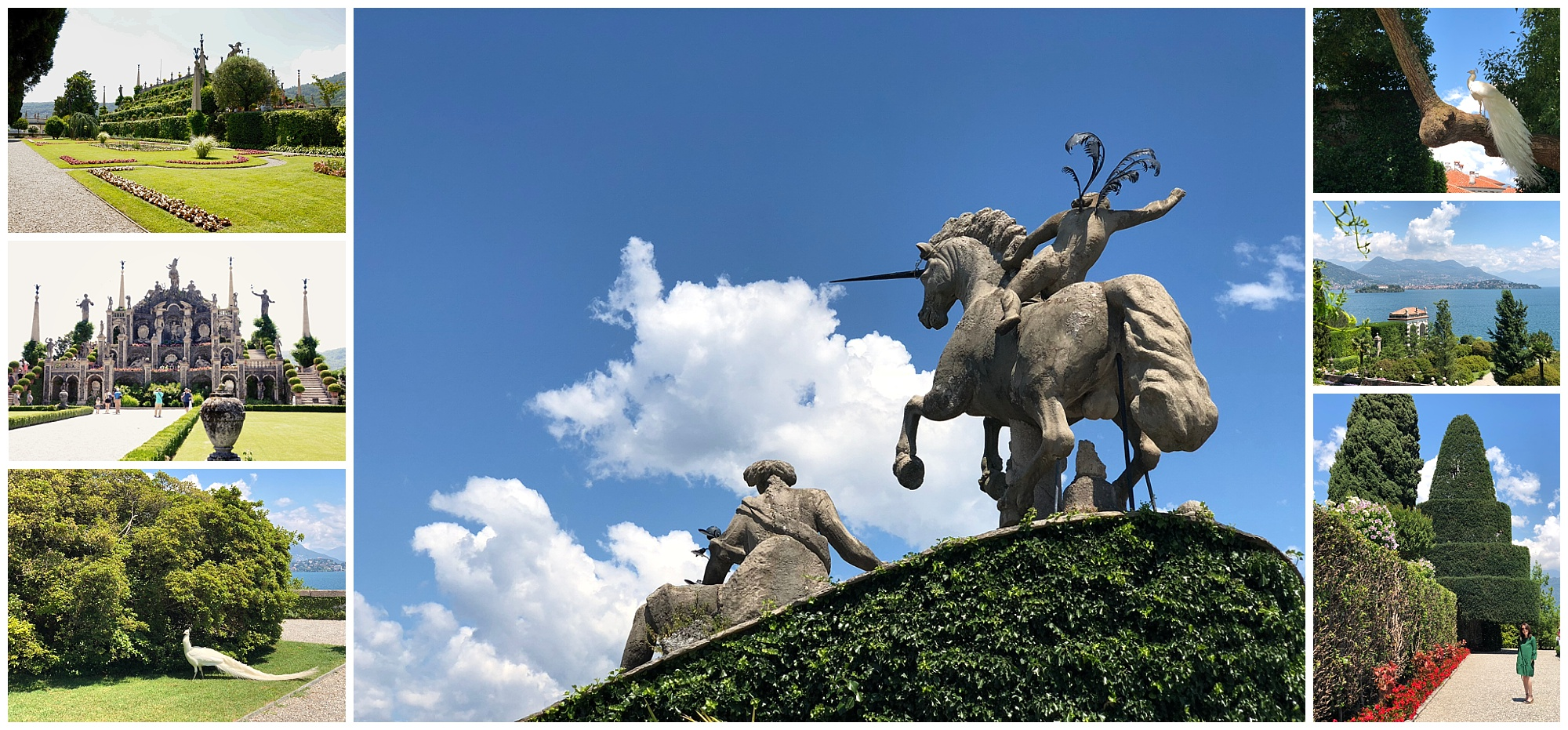 "The unicorn sculpture at the apex of the ""theatre"" represents the Borromeo's emblem."