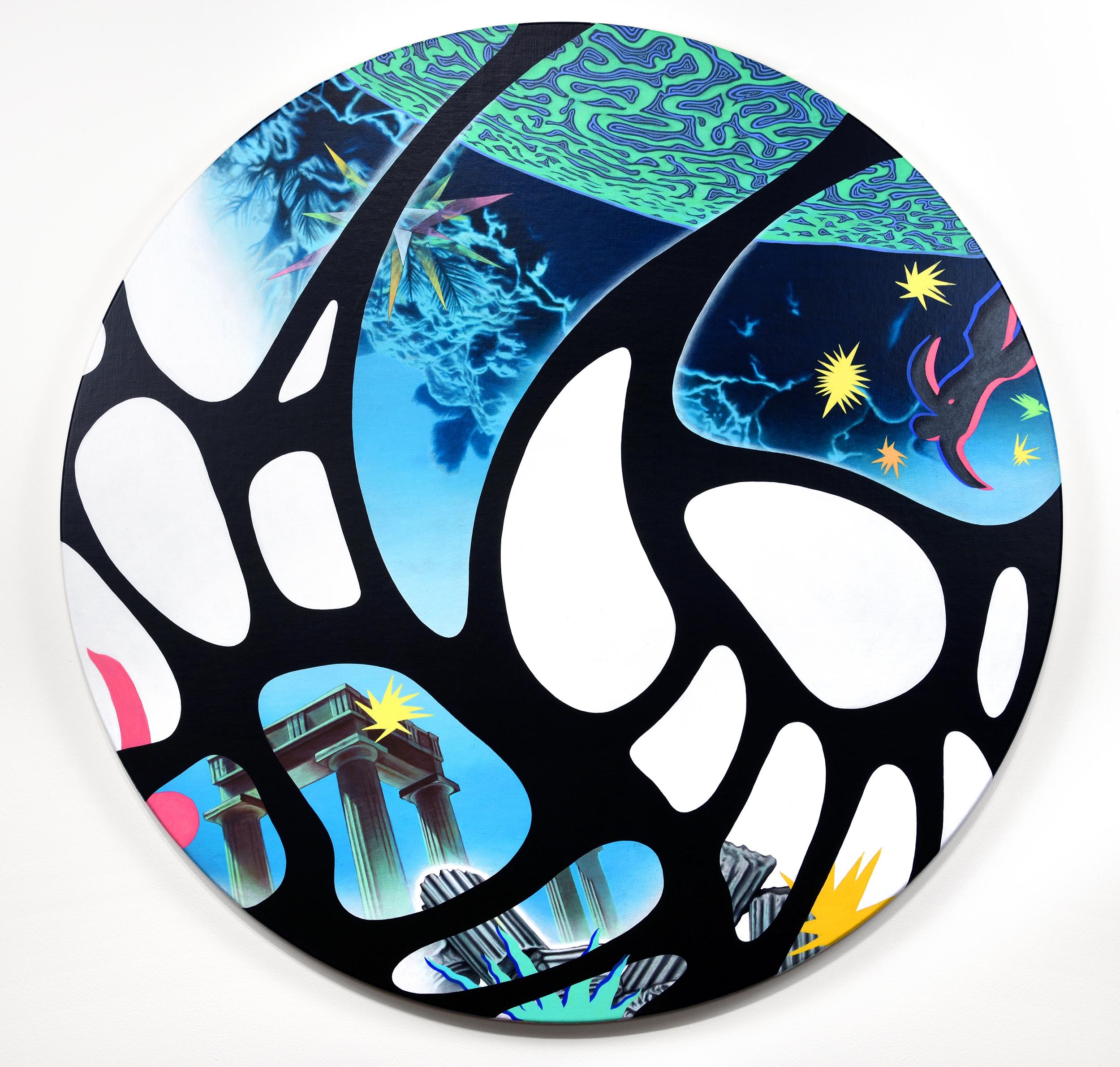 Peter D. Gerakaris ,  Ventana: Atlantis Tondo , 2017, acrylic on canvas over panel, 35 in. diameter