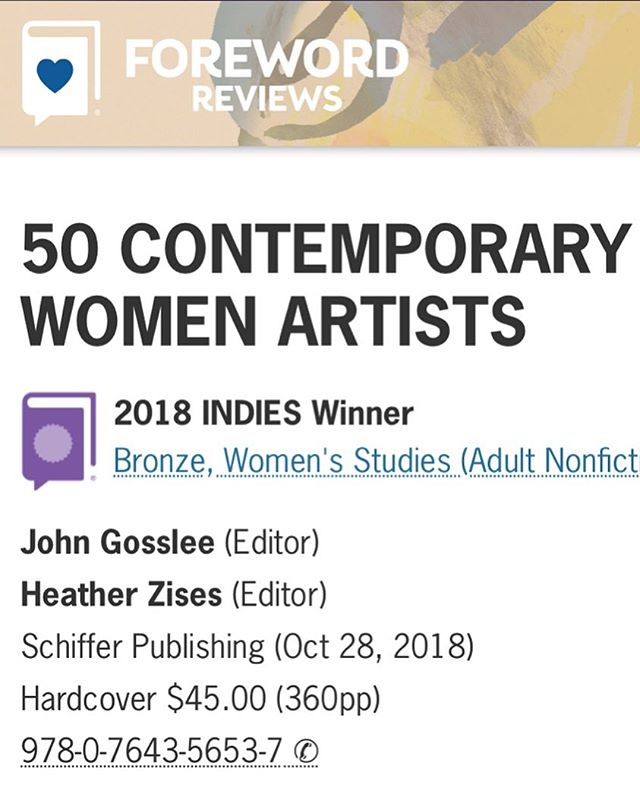 Excited to announce 50 CWA won bronze in the Women's Studies category for the Foreword INDIES Awards. 🎉 📕 🤓 🥳 💗 . . .  Thank you @forewordreviews for recognizing our important survey!!! 👩🏻‍🎤👩🏼‍🎤👩🏽‍🎤👩🏾‍🎤👩🏿‍🎤 . . . #50cwa #forewordreviews #womensstudies #bronze #award #feminism #artbook #womenartists #editors #heatherzises #johngosslee #schifferpublishing @heatherzises @johngosslee @schifferpublishing