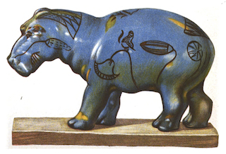 Egyptian faience hippo  illustrated by Henry Wallis