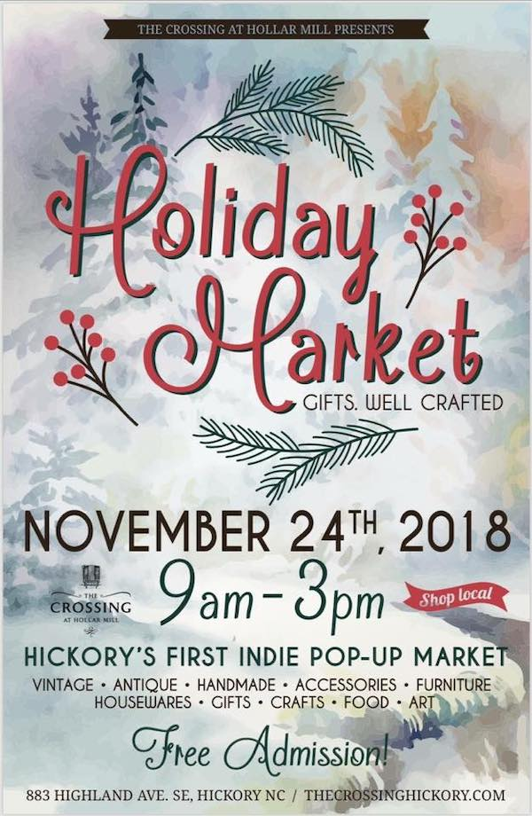 Gifts. Well Crafted - Gifts Well CraftedSaturday, November 24th9am - 3pmThe Crossing883 Highland Avenue SEHickory, NC 28602More info: http://thecrossinghickory.com/our-events/holiday-craft-market-2018/