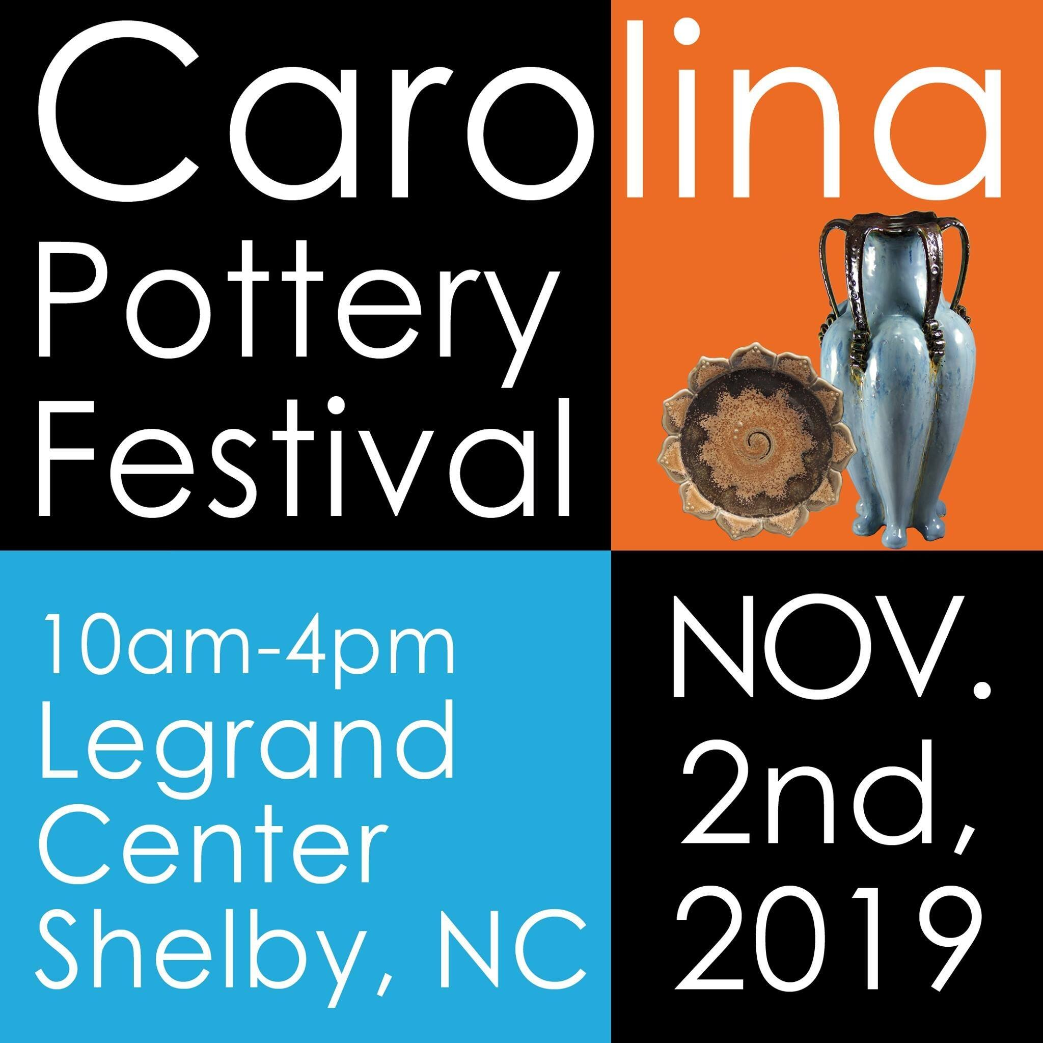 Carolina Pottery Festival - Carolina Pottery FestivalNovember 2nd, 2019Shelby, North CarolinaHeld in Shelby since 2001. One hundred of the finest potters and ceramic artists in a three state area convene at the LeGrand Center in Shelby, NC to show and sell their handmade pottery. The opportunity to meet and talk with the artists on site make this day special for all who attend. And just in time for holiday shopping!www.ccartscouncil.org/Events.htmwww.facebook.com/CarolinaPotteryFestival