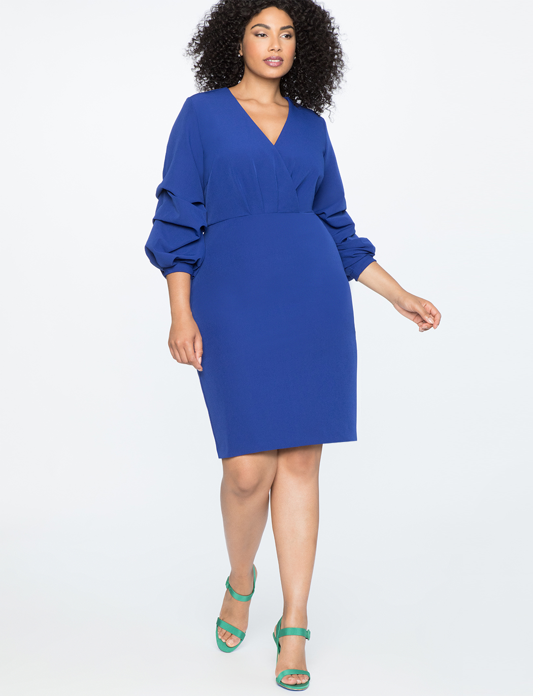 Puff Sleeve Overlap V-Neck Dress   $49.90