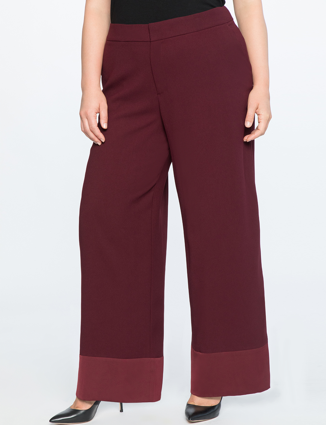Wide Leg Satin Cuff Trouser   $49.90