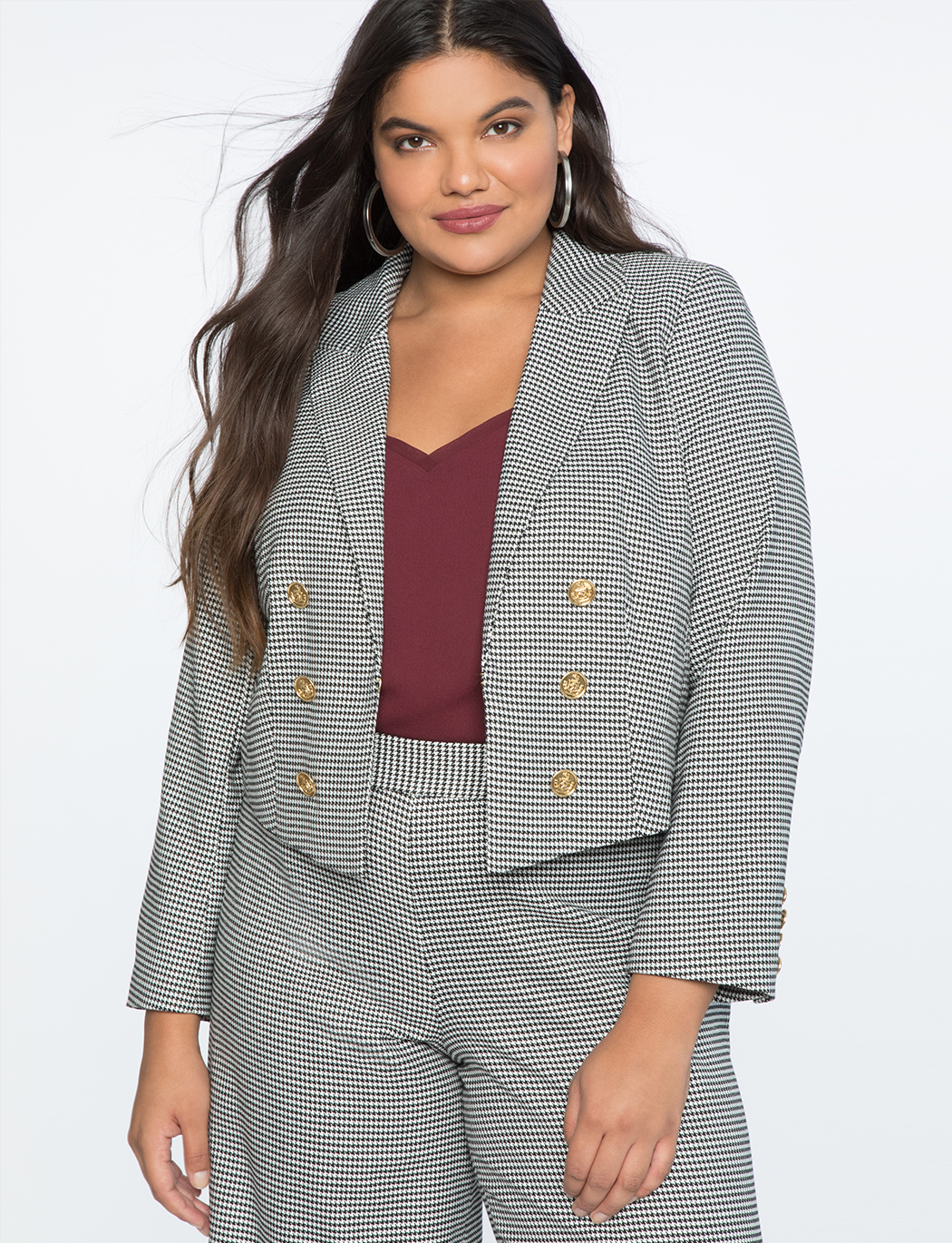 Double Slit Houndstooth Jacket    $89.90