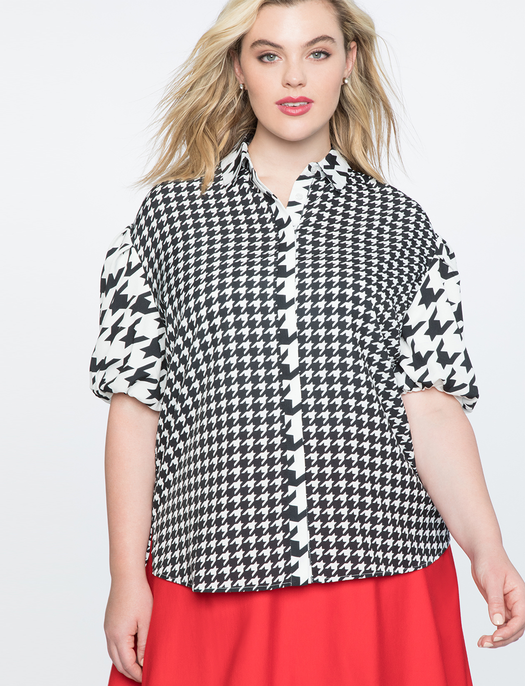 Houndstooth Puff Sleeve Top   $39.90