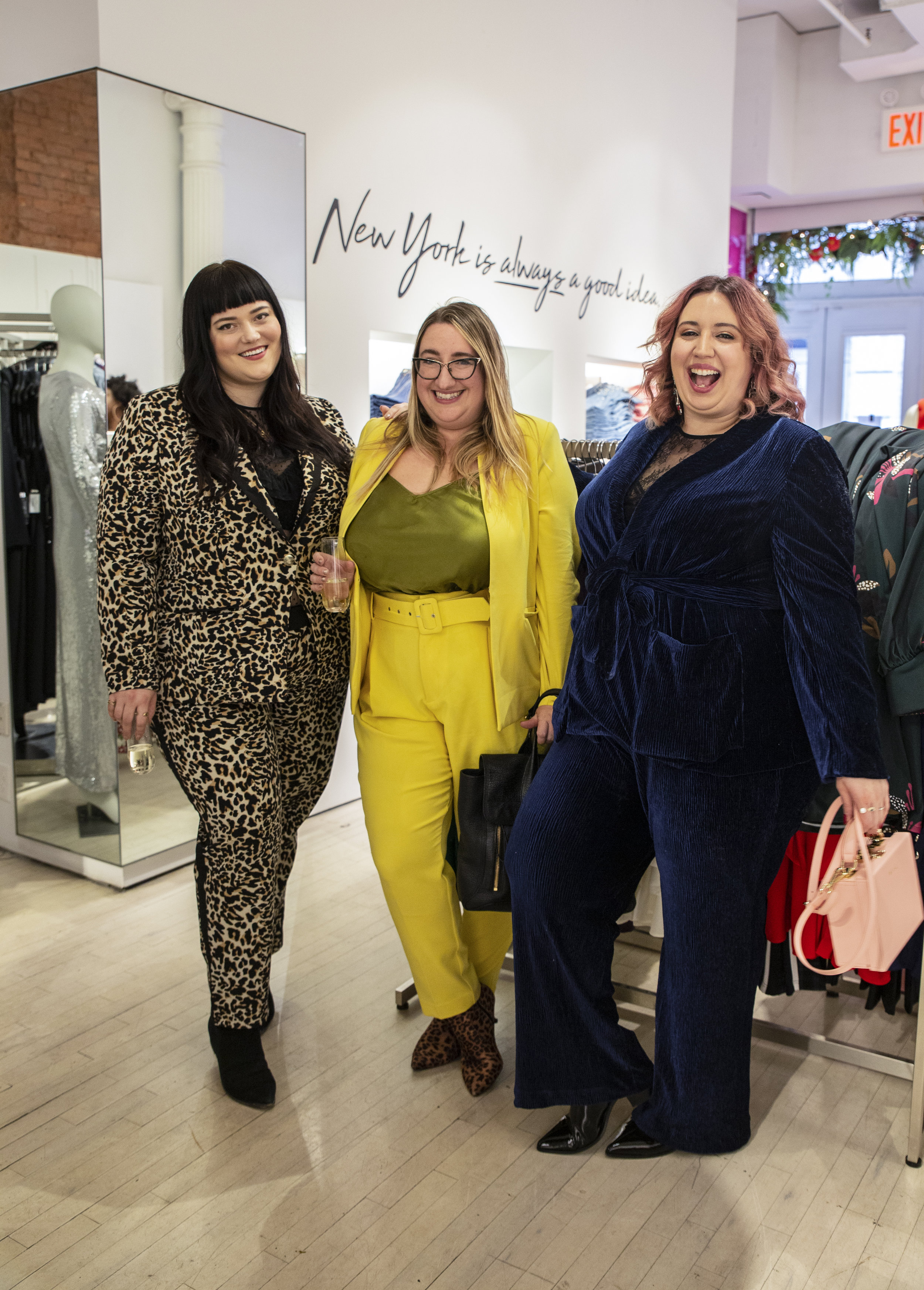 Blogger Sarah Chiwaya of  Curvily  (center) with Guest Editor Liz Black (R) and Charlotte Zoller of the ELOQUII team (L)